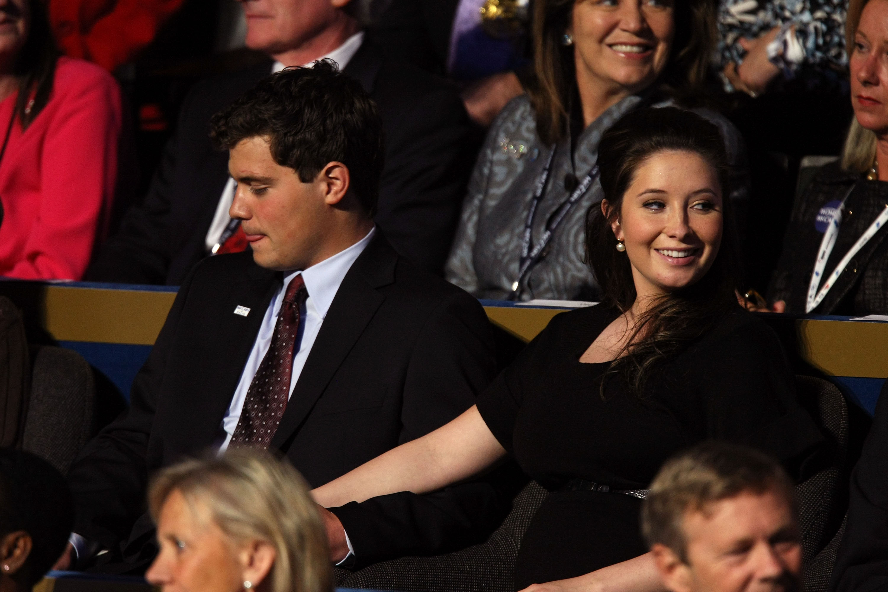 Bristol Palin (R), daughter of Republican U.S vice-presidential nominee Alaska Gov. Sarah Palin, sits with her boyfriend Levi Johnston on day four of the Republican National Convention (RNC) at the Xcel Energy Center on September 4, 2008. (Justin Sullivan/Getty Images)