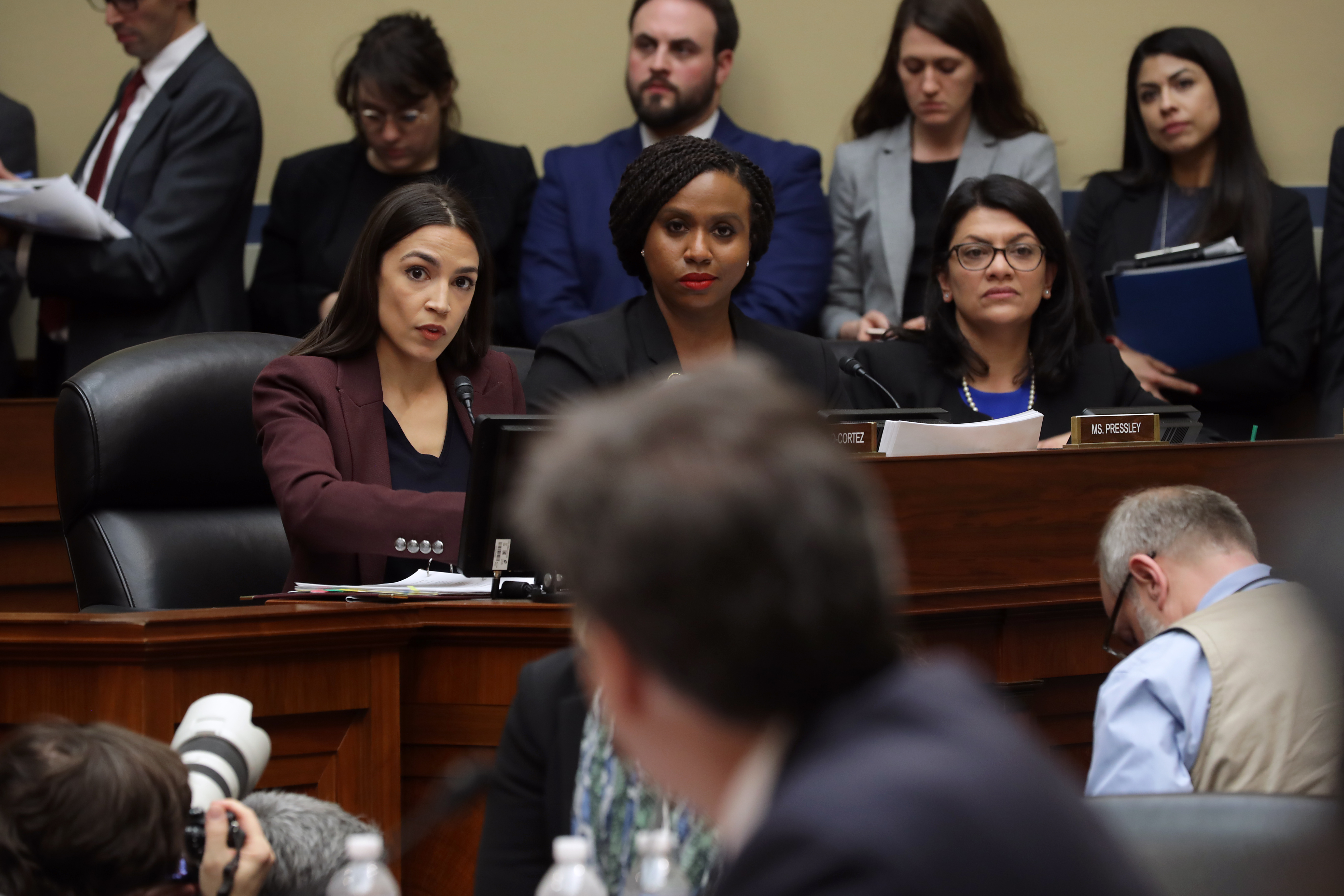 Reps. Alexandria Ocasio-Cortez (D-NY), Ayanna Pressley (D-MA), and Rashida Tlaib (D-MI) during a House Oversight Committee hearing on February 27, 2019. (Chip Somodevilla/Getty Images)