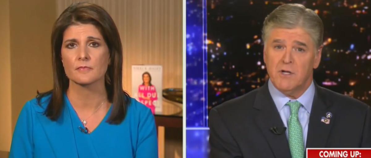 Hannity presses Nikki Haley on Ukraine request (Fox News screengrab)