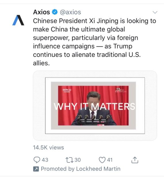 Axios video promoted by Lockheed Martin (Twitter Screenshot)