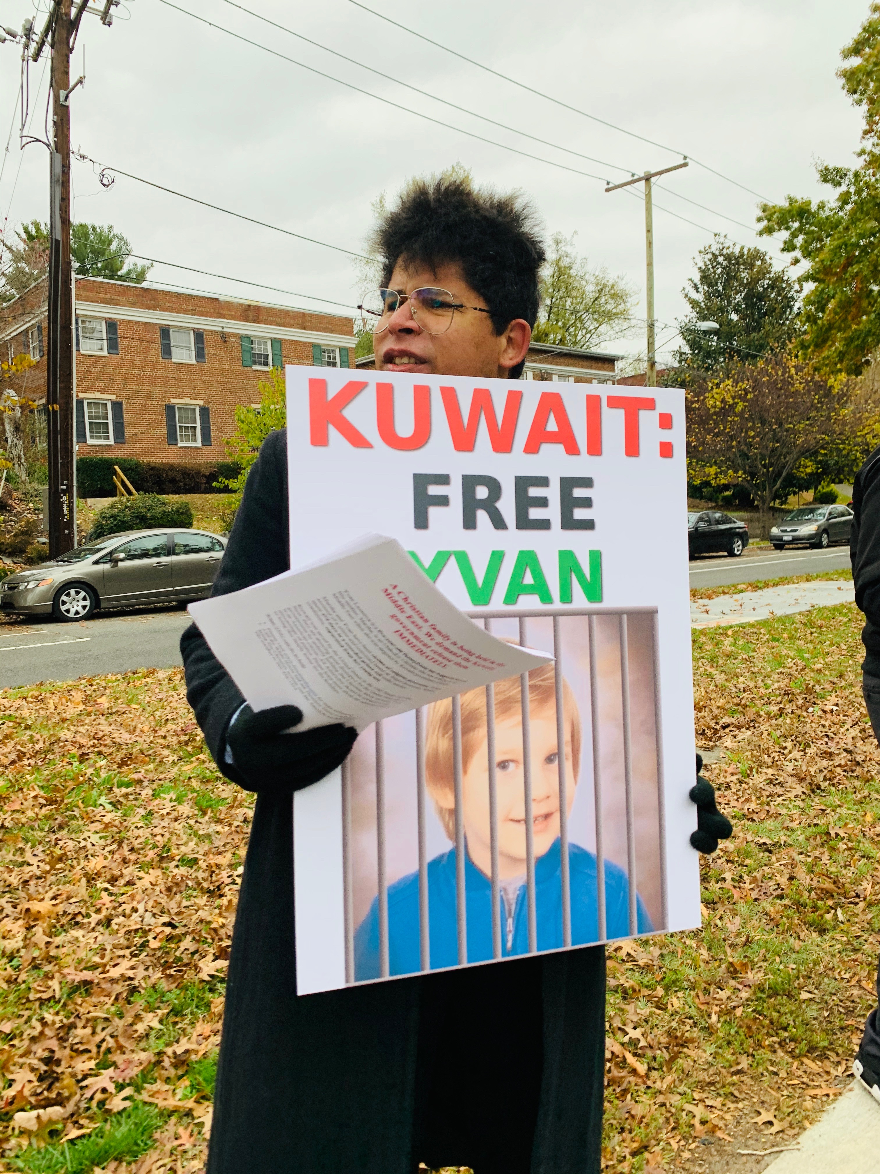 Protester outside the U.S. Embassy of Kuwait