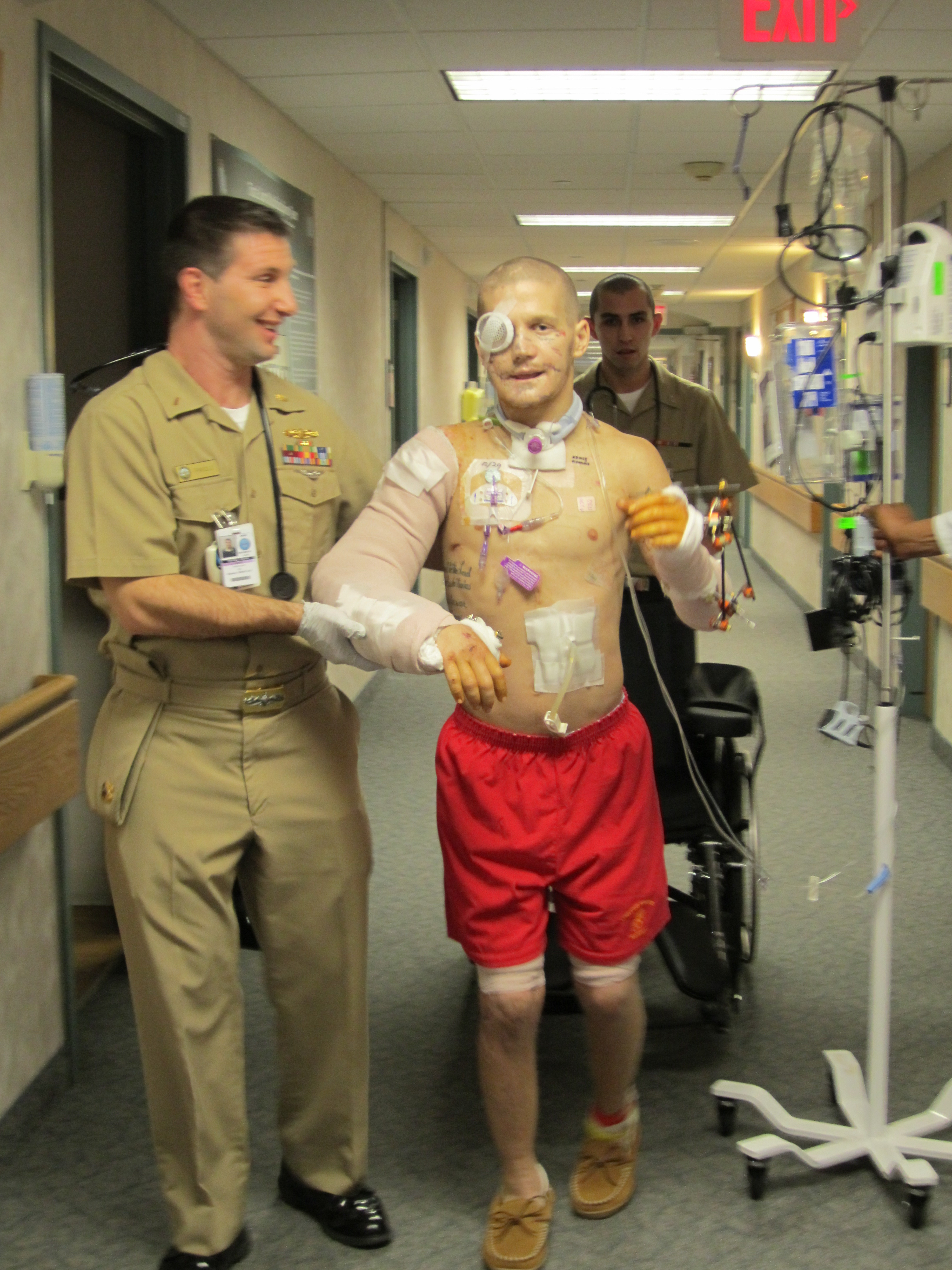 Kyle Carpenter takes first steps at Walter Reed hospital. Used with permission from HarperCollins.