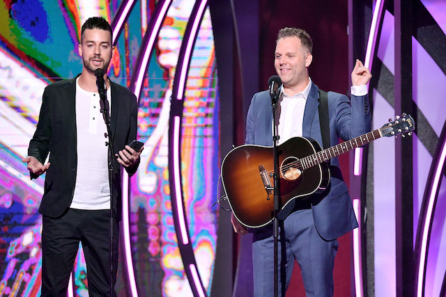 Comedian John Crist and artist Matthew West perform onstage during the 6th Annual KLOVE Fan Awards at The Grand Ole Opry on May 27, 2018 in Nashville, Tennessee. (Photo by Jason Davis/Getty Images for KLOVE)