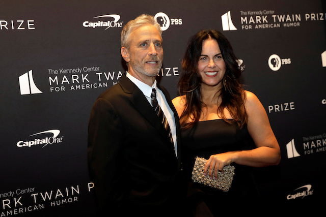 Jon Stewart and wife Tracey arrive ahead of comedian Dave Chappelle receiving the Mark Twain Prize for American Humor at the Kennedy Center in Washington, U.S., October 27, 2019. REUTERS/Yuri Gripas