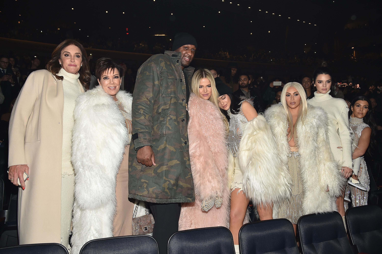 Caitlyn Jenner, Kris Jenner, Lamar Odom, Khloe Kardashian, Kylie Jenner, Kim Kardashian, Kendall Jenner and Kourtney Kardashian attend Kanye West Yeezy Season 3 on February 11, 2016 in New York City. (Photo by Dimitrios Kambouris/Getty Images for Yeezy Season 3)