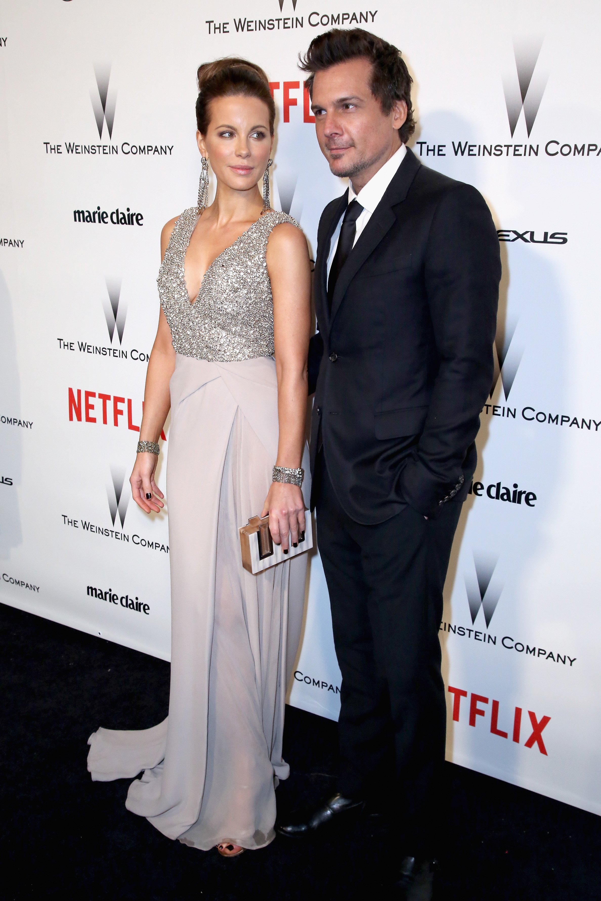 Actress Kate Beckinsale and director Len Wiseman attend The Weinstein Company & Netflix's 2015 Golden Globes After Party presented by FIJI Water, Lexus, Laura Mercier and Marie Claire at The Beverly Hilton Hotel on January 11, 2015 in Beverly Hills, California. (Photo by Ari Perilstein/Getty Images for FIJI Water)