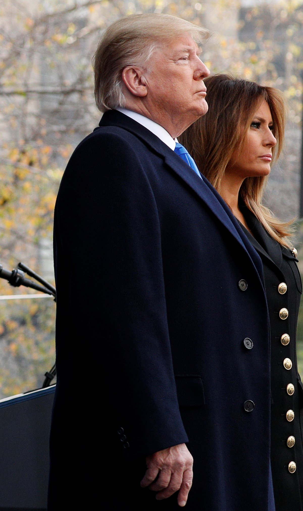 U.S. President Donald Trump and first lady Melania Trump attend the Veterans Day Parade in New York, U.S., November 11, 2019. REUTERS/Tom Brenner