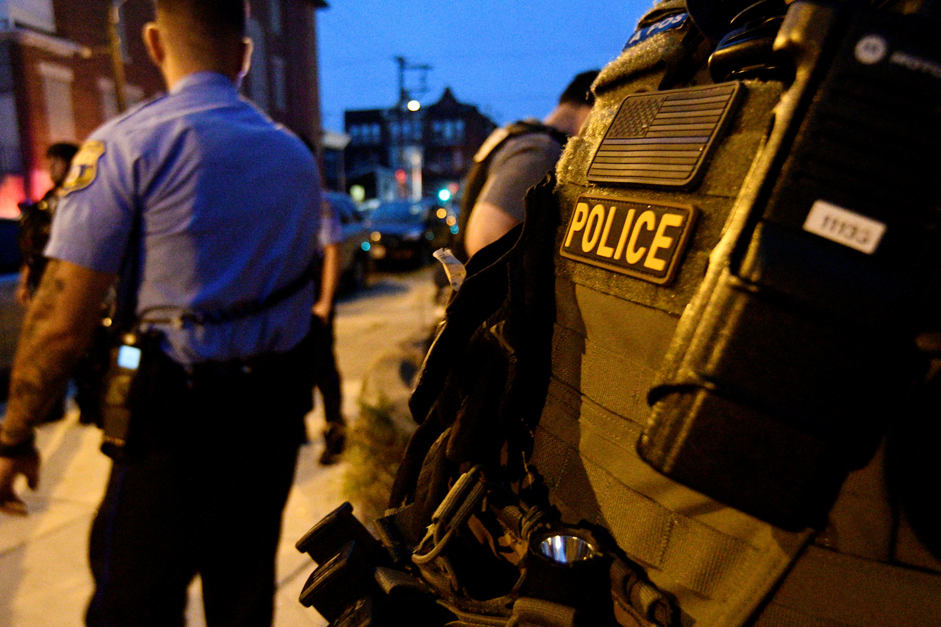 Police are seen during an active shooter situation in Philadelphia
