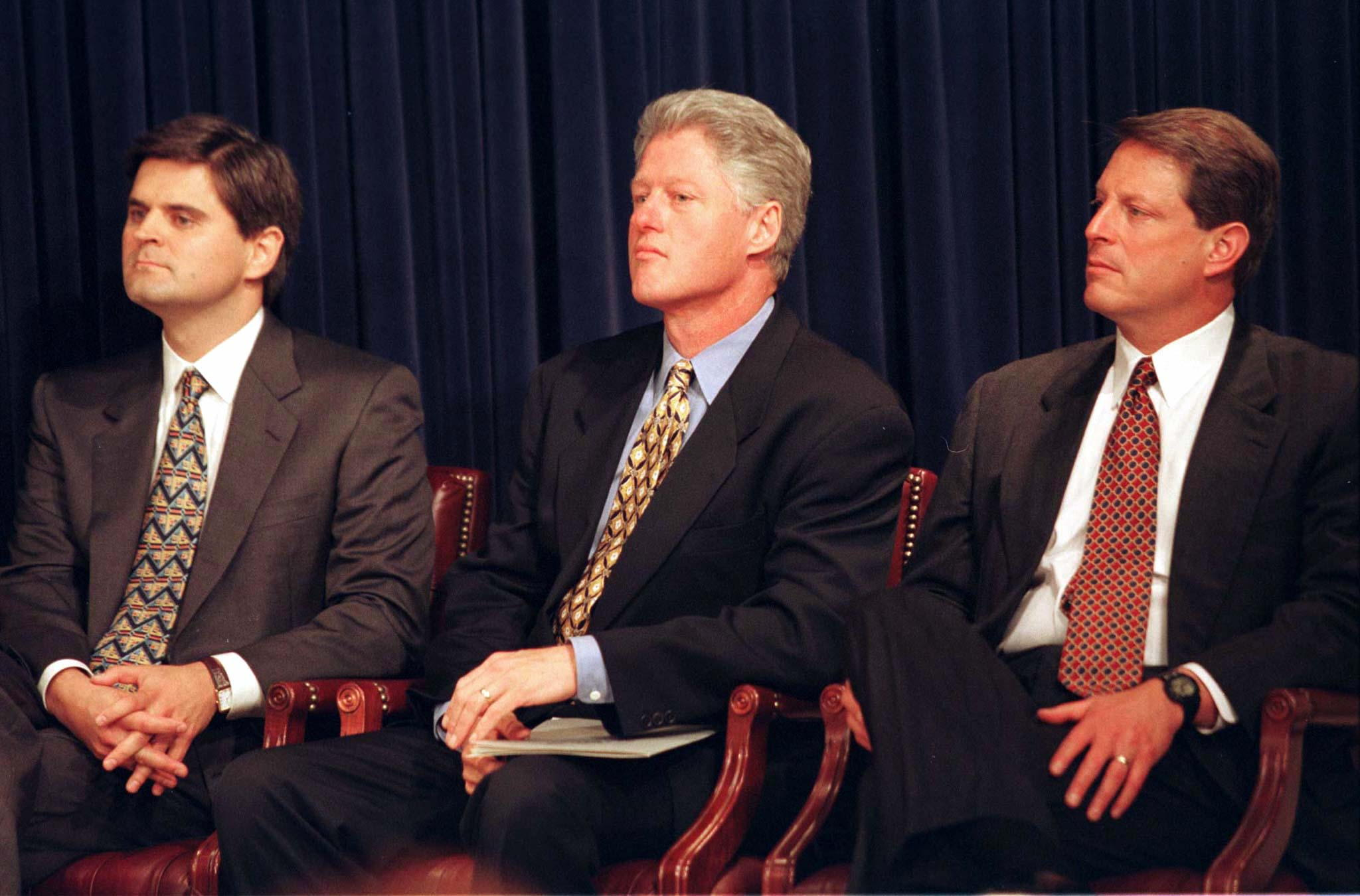 America Online chairman Steve Case (L) meets with President Clinton and Vice President Al Gore to seek a new approach for protecting children from Internet pornography without calling for new laws or extensive government intervention in cyberspace, July 16. Last month, the Supreme Court struck down a law banning indecent material on the Internet as a violation of the First Amendment.