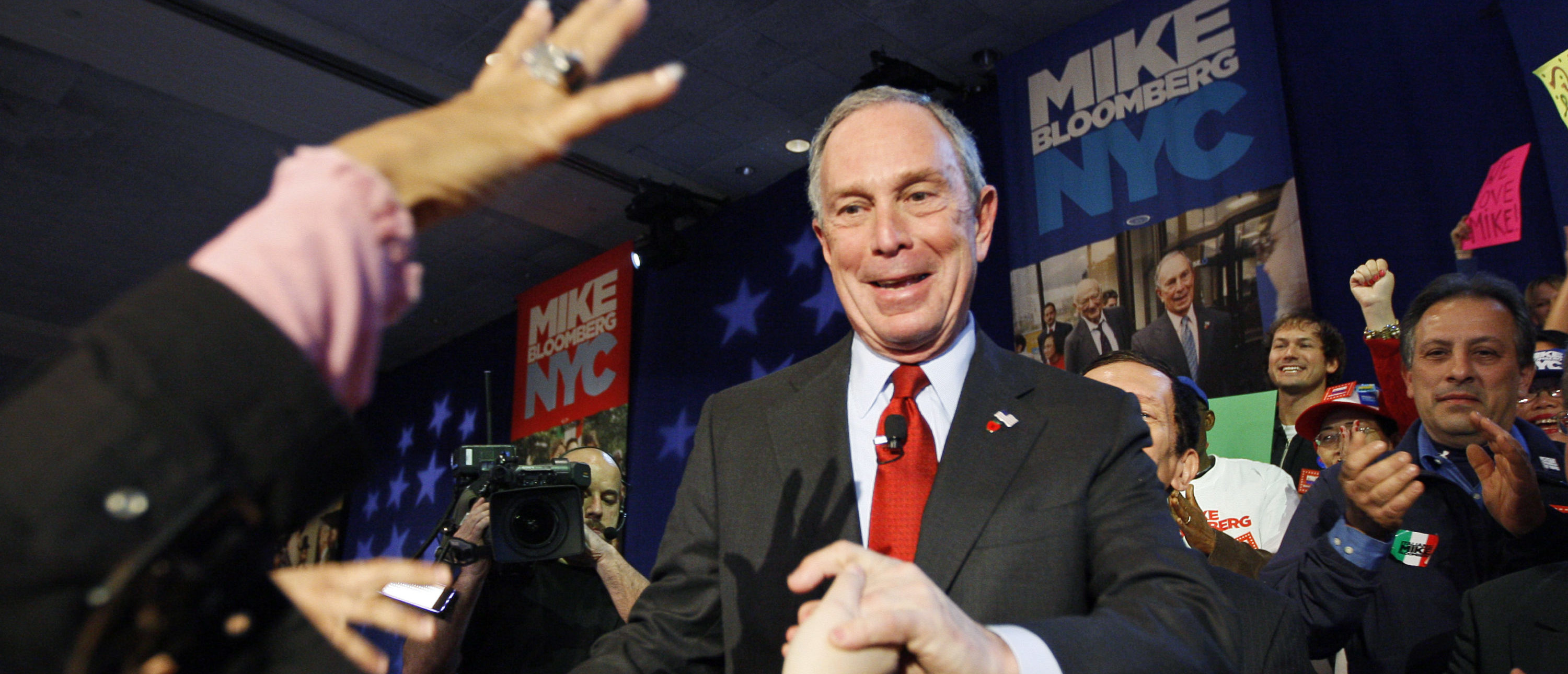 New York City Mayor Michael Bloomberg greets supporters after his election win in New York, November 3, 2009. REUTERS/Shaun Best