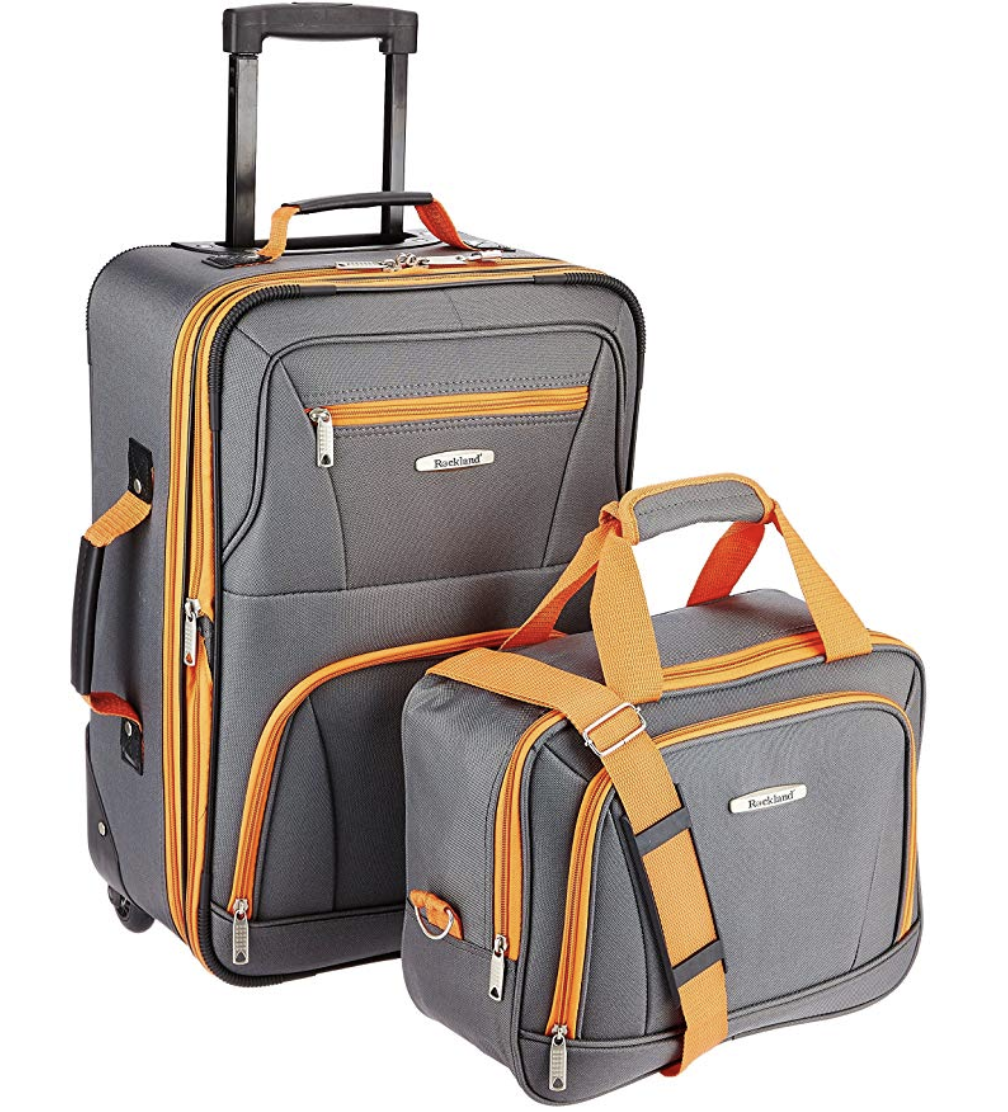 Rockland Luggage two pieces set is the most convenient and reasonably priced two-piece carry-on you will find! Photo via Amazon