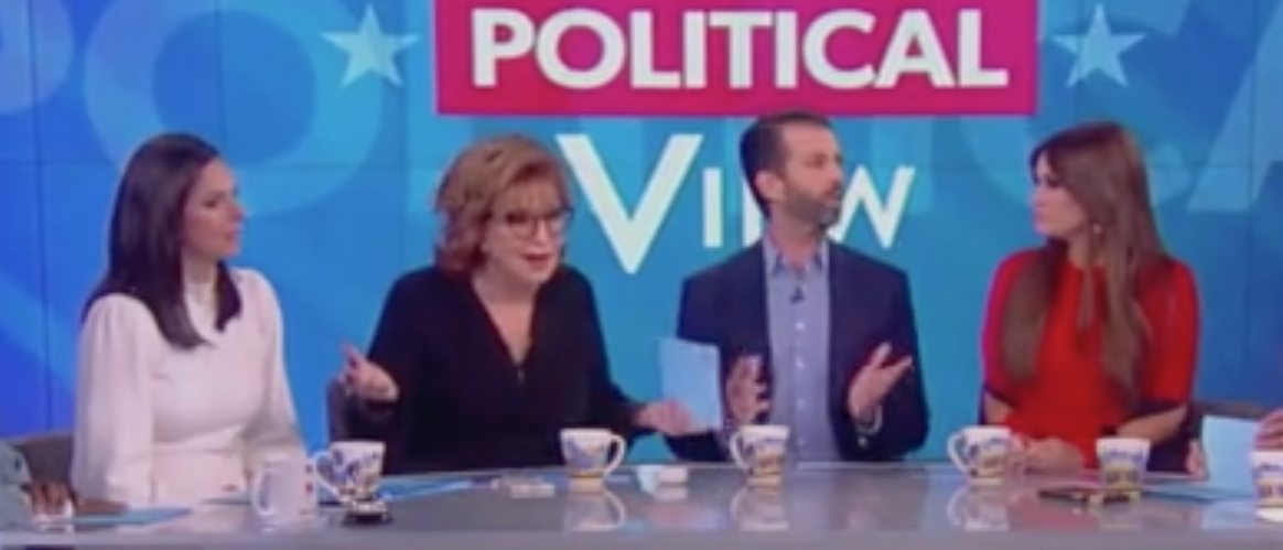 """Donald Trump Jr. and Kimberly Guilfoyle appear on """"The View."""" Screen Shot/ABC"""