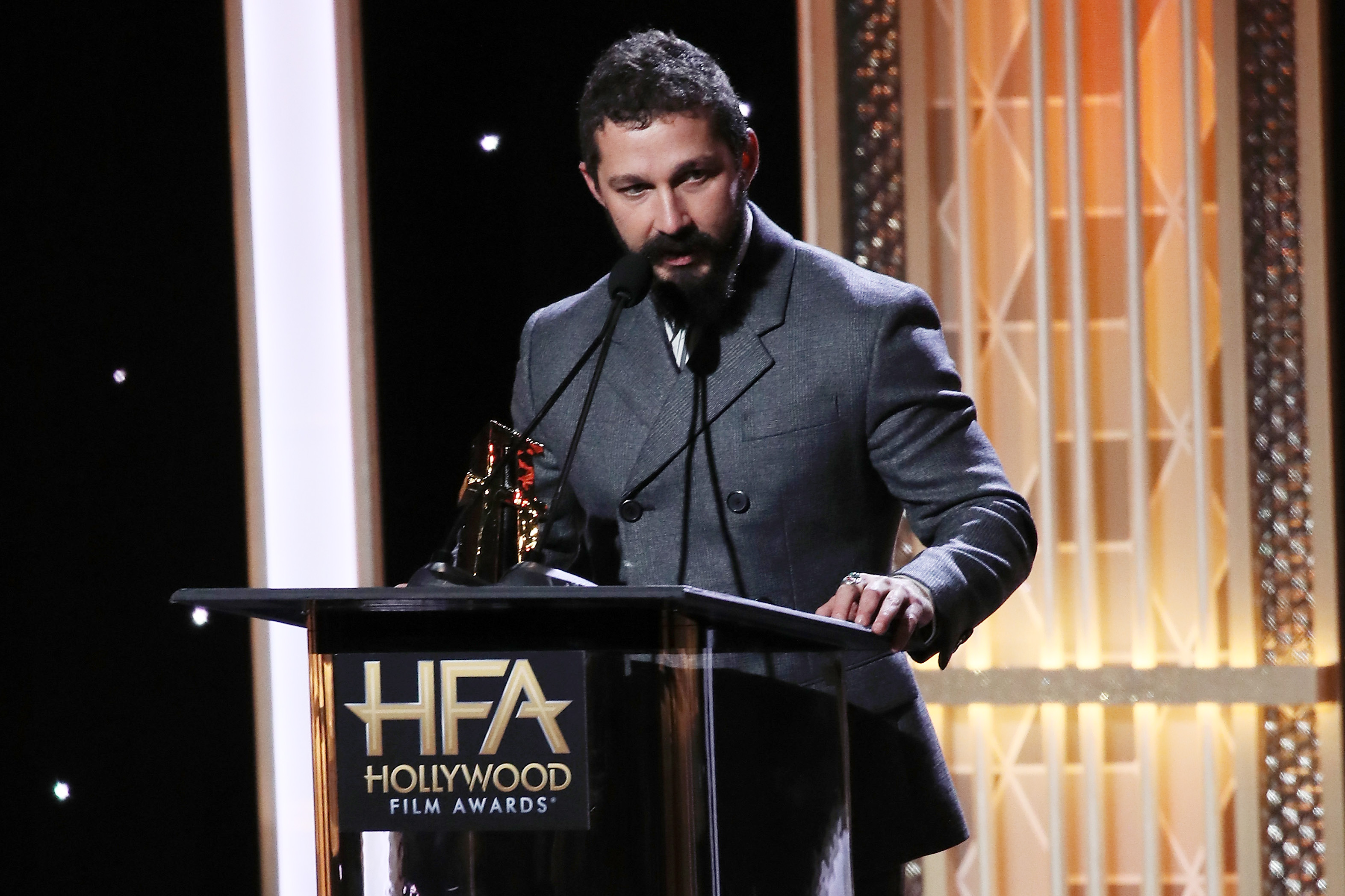 Shia LaBeouf appears on stage at the 23rd Annual Hollywood Film Awards show at The Beverly Hilton Hotel on November 03, 2019 in Beverly Hills, California. (Photo by David Livingston/Getty Images)