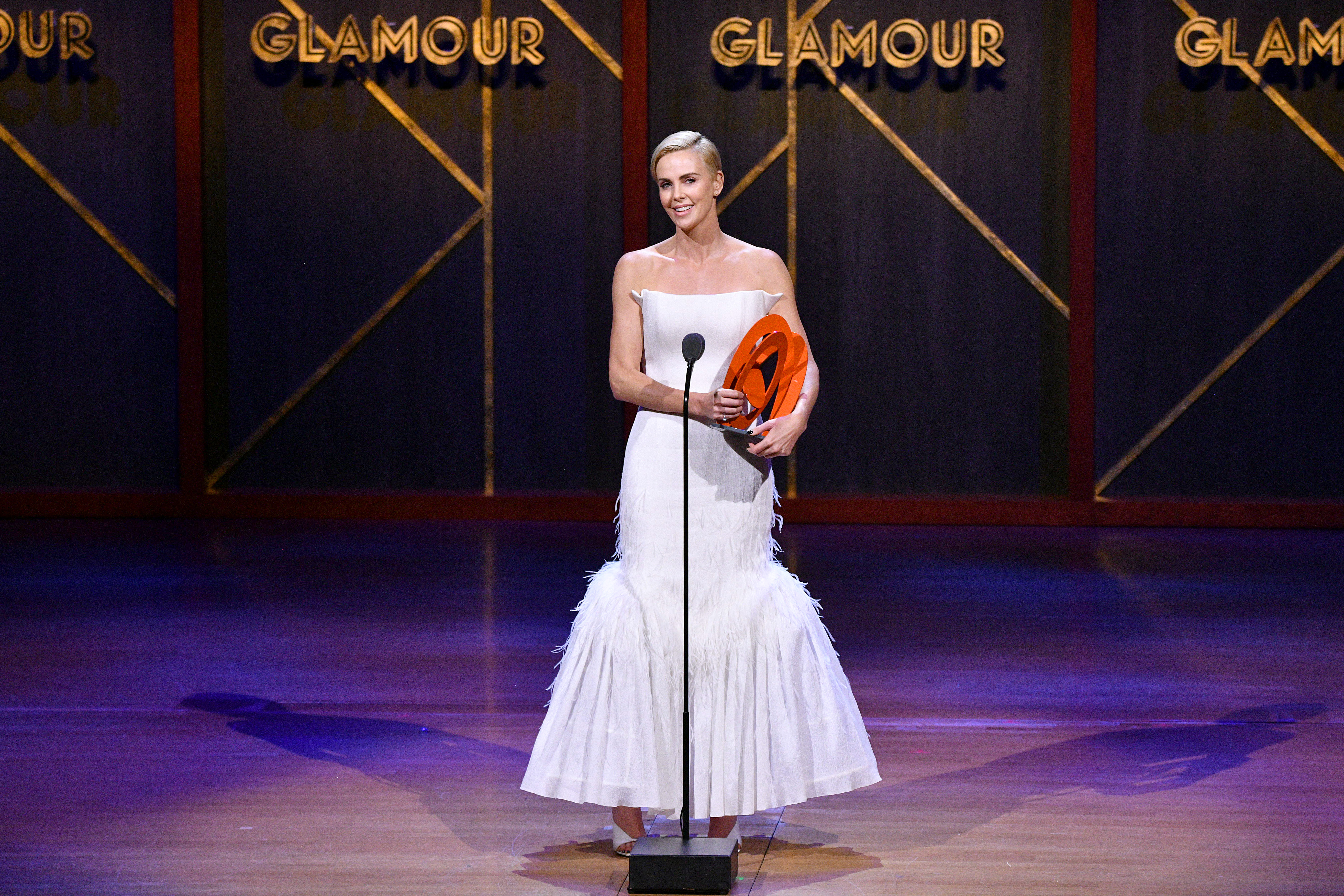 Charlize Theron speaks onstage at the 2019 Glamour Women Of The Year Awards at Alice Tully Hall on November 11, 2019 in New York City. (Photo by Bryan Bedder/Getty Images for Glamour )