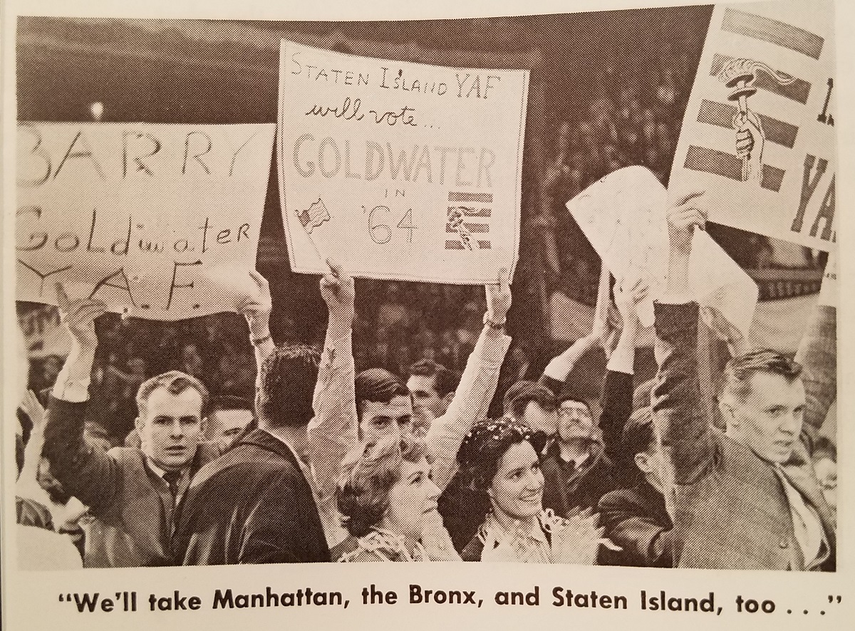 A scene from the 1962 YAF Madison Square Garden rally, featured in The New Guard. YAF.