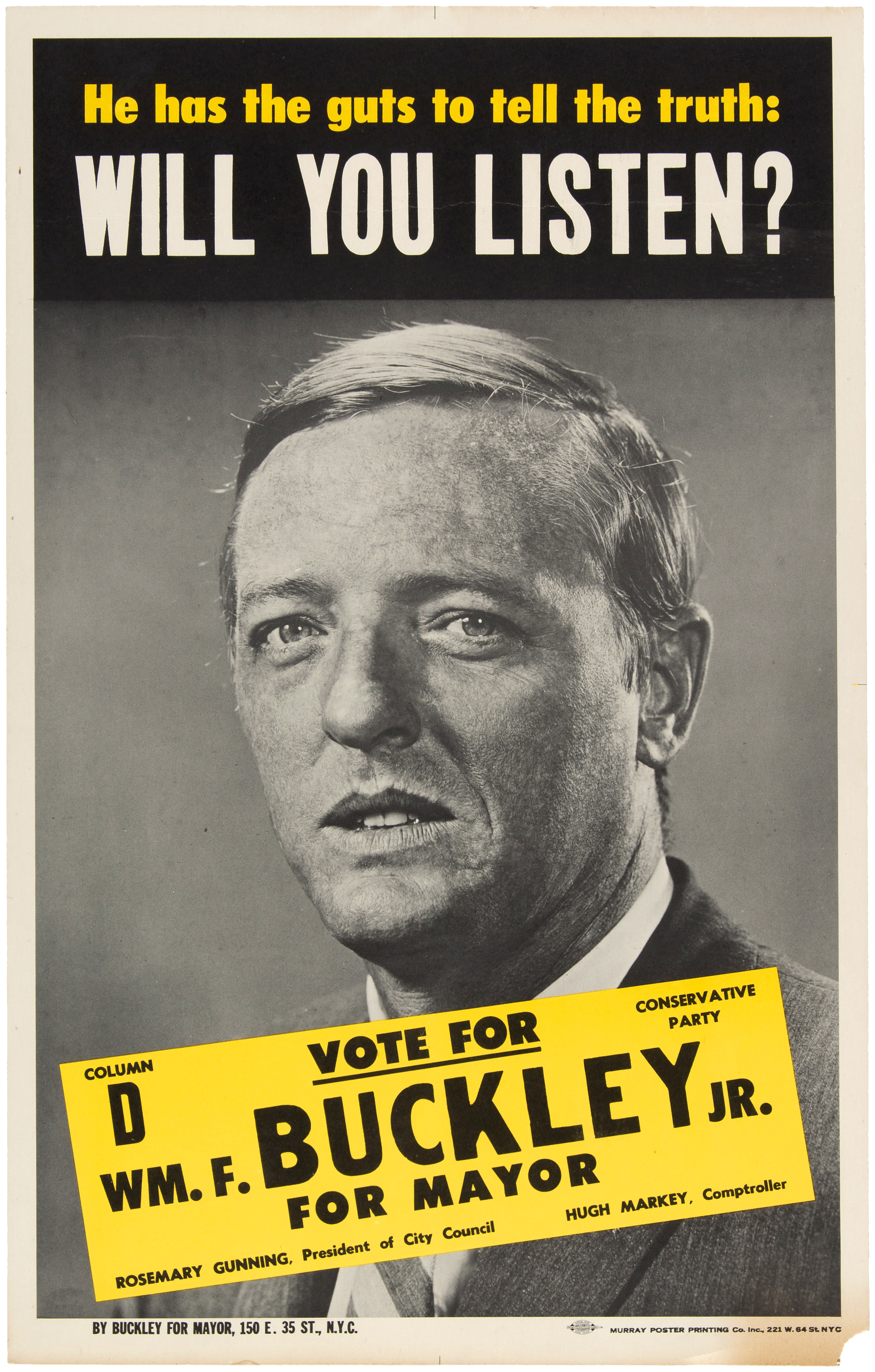 Buckley for Mayor campaign poster.