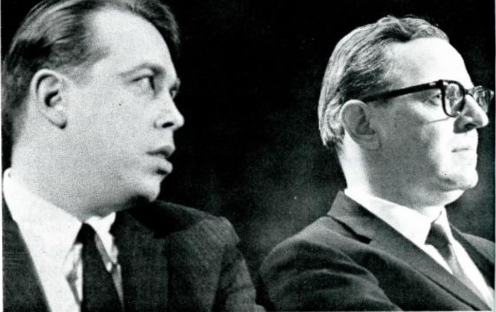 M. Stanton Evans and Rep. Don Bruce at YAF's 1962 New York rally. YAF.