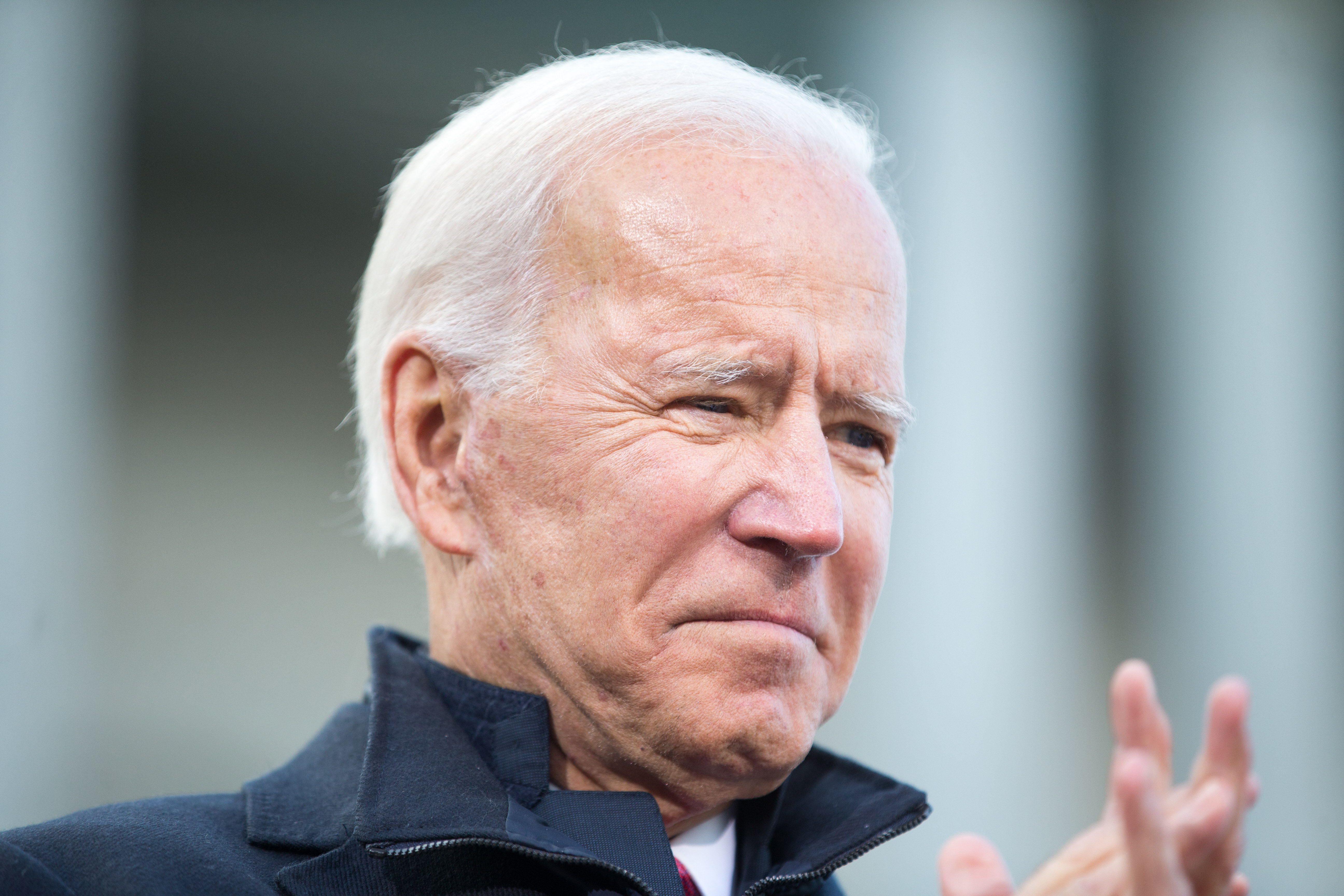 Democratic presidential candidate, former vice President Joe Biden speaks during a rally after he signed his official paperwork for the New Hampshire Primary at the New Hampshire State House on November 8, 2019 in Concord, New Hampshire. The state's first-in-the-nation primary will be held on February 11, 2020. (Photo by Scott Eisen/Getty Images)
