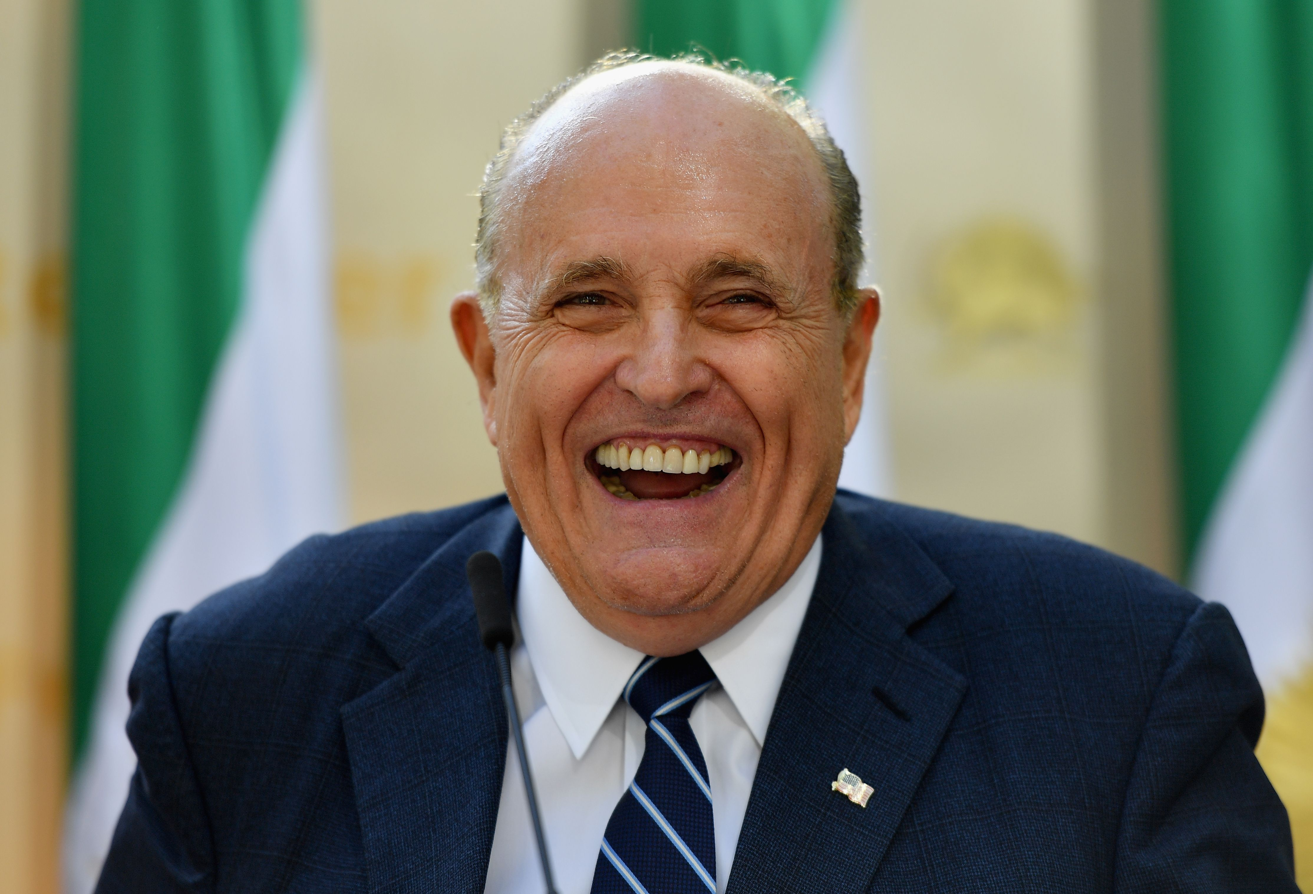 "Rudy Giuliani, Former Mayor of New York City speaks to the Organization of Iranian American Communities during their march to urge ""recognition of the Iranian people's right for regime change,"" outside the United Nations Headquarters in New York on September 24, 2019. - They urged recognition of the Iranian people's right for regime change and declared their support for the leader of democratic opposition, Maryam Rajavi. (Photo by Angela Weiss / AFP)"