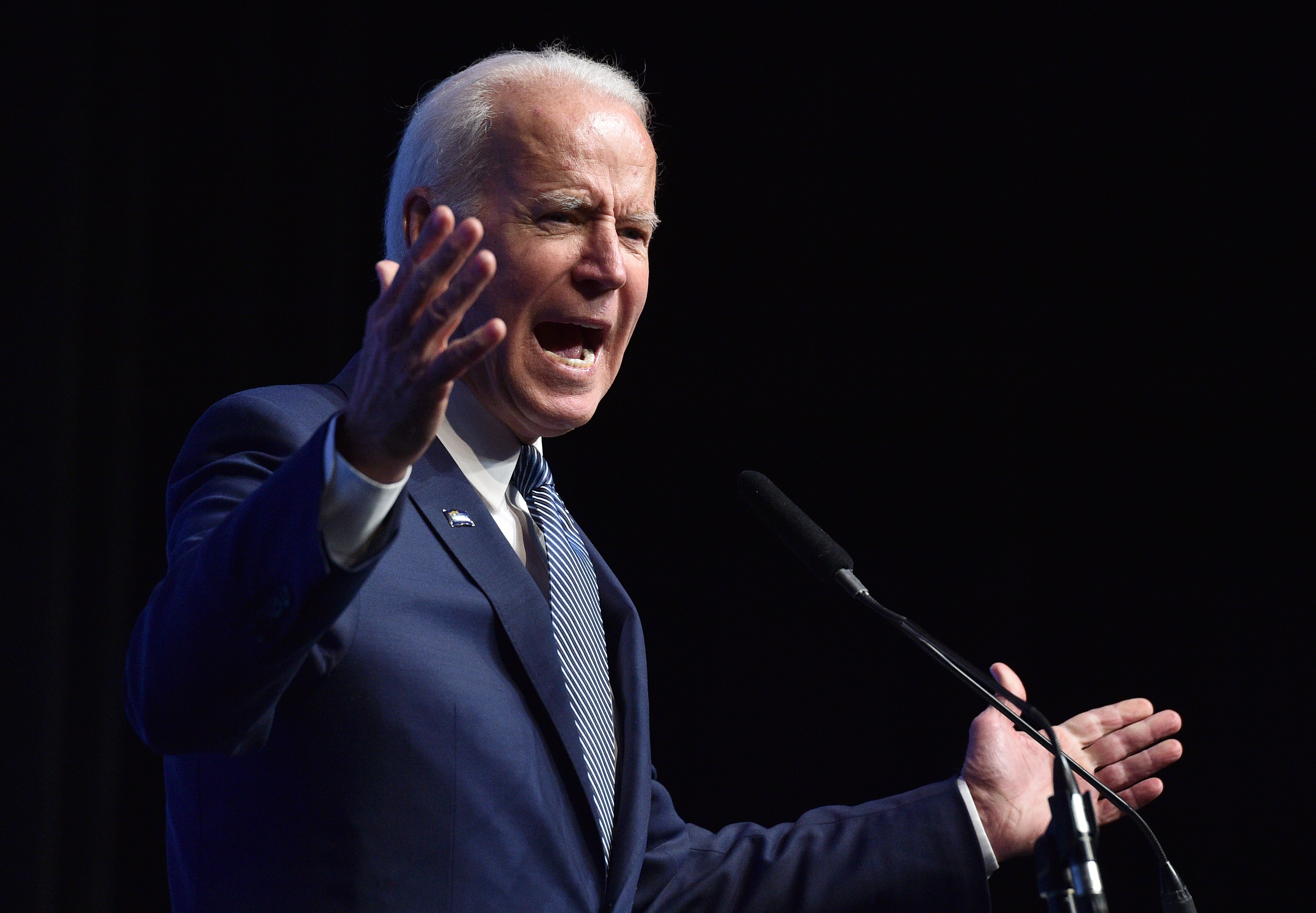 "Democratic presidential candidate, former U.S Vice President Joe Biden speaks during the Nevada Democrats' ""First in the West"" event at Bellagio Resort & Casino on November 17, 2019 in Las Vegas, Nevada. The Nevada Democratic presidential caucuses is scheduled for February 22, 2020. (Photo by David Becker/Getty Images)"