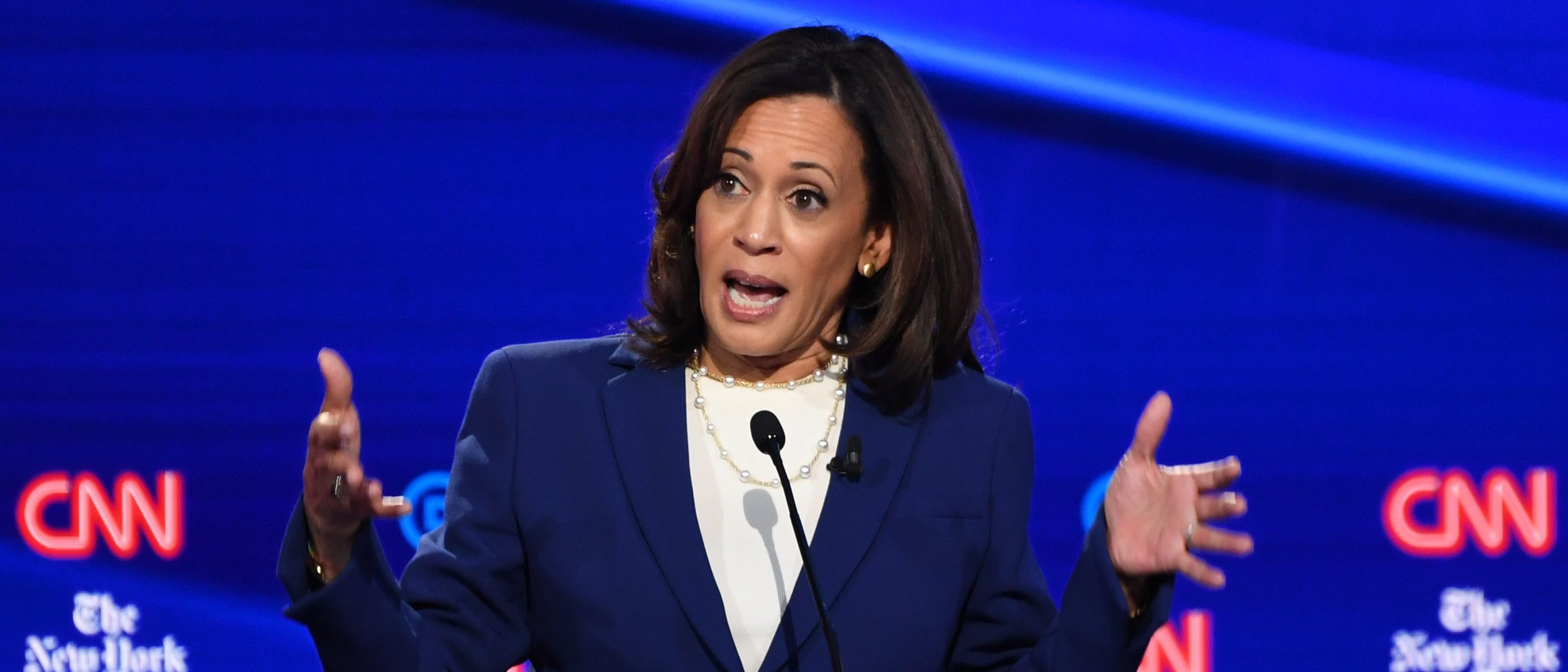 Democratic presidential hopeful California Senator Kamala Harris gestures as she speaks during the fourth Democratic primary debate of the 2020 presidential campaign season co-hosted by The New York Times and CNN at Otterbein University in Westerville, Ohio on October 15, 2019. (SAUL LOEB/AFP via Getty Images)