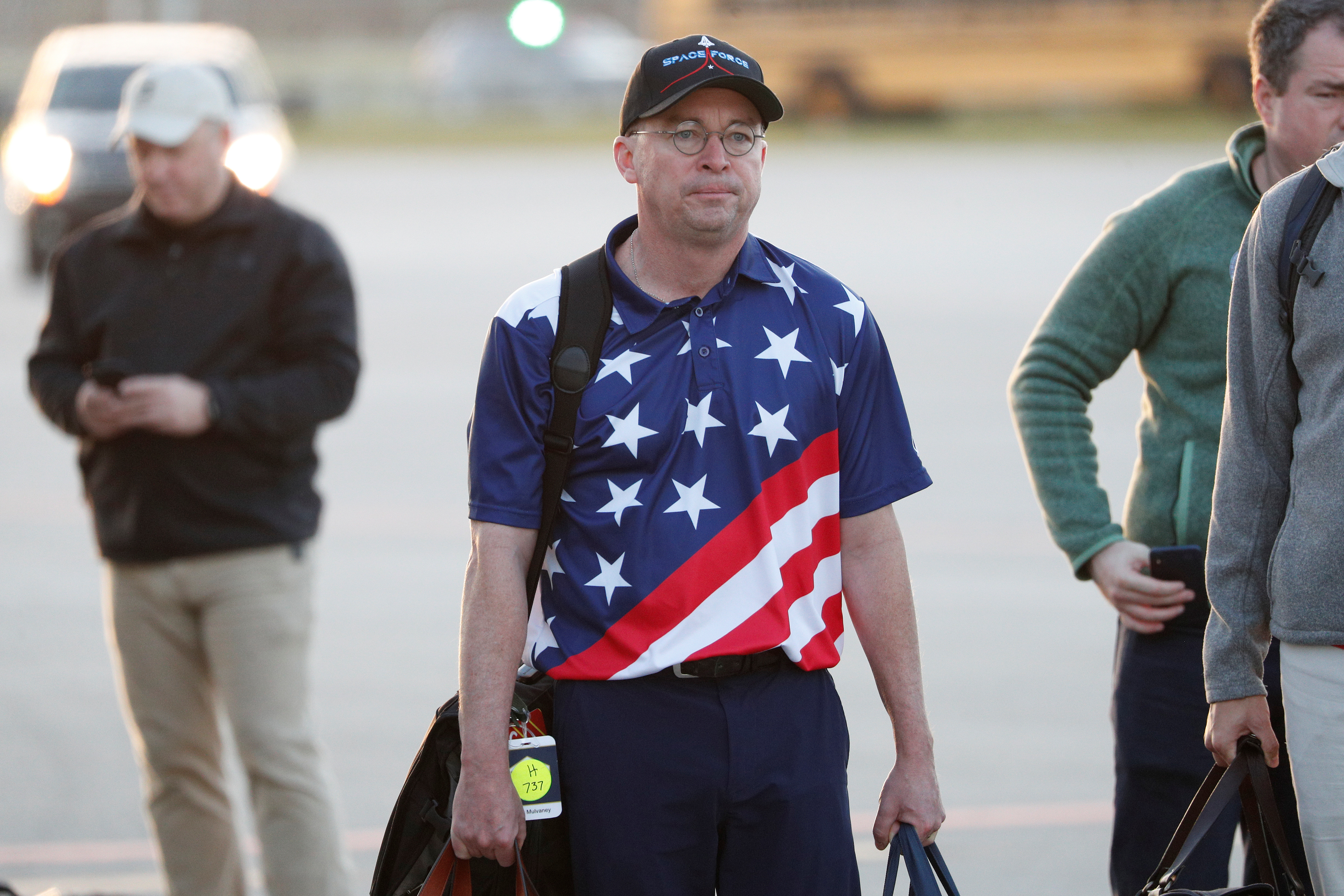 Acting White House Chief of Staff Mick Mulvaney descends from Air Force One wearing a Space Force hat at Palm Beach International Airport in West Palm Beach, Florida, U.S. November 29, 2019. (REUTERS/Tom Brenner)