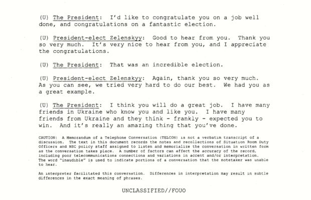 Transcript of April 21, 2019 Call Between President Donald Trump and President Volodymyr Zelensky