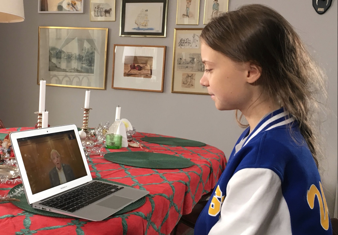 "Greta Thunberg speaks to David Attenborough via video chat, as a part of her guest edit of the BBC Radio 4's ""Today"" programme, at her home in Stockholm, Sweden, in this picture taken December 2019 and obtained from social media by Reuters on Dec. 30, 2019. BBC Radio 4 Today/Mishal Husain /via REUTERS"