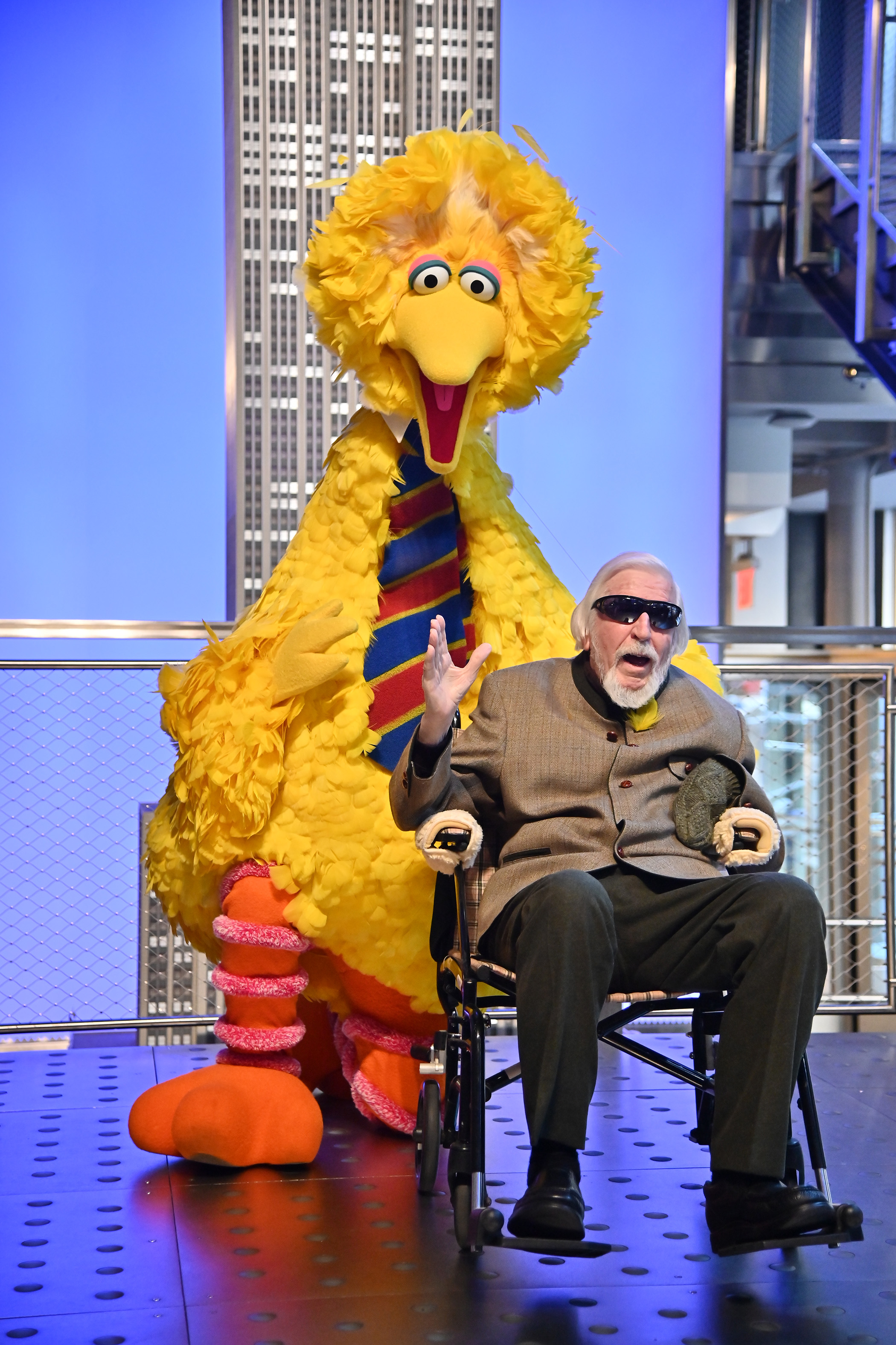 Sesame Street's Big Bird And Puppeteer Caroll Spinney Light The Empire State Building at The Empire State Building on November 08, 2019 in New York City. (Photo by Theo Wargo/Getty Images)