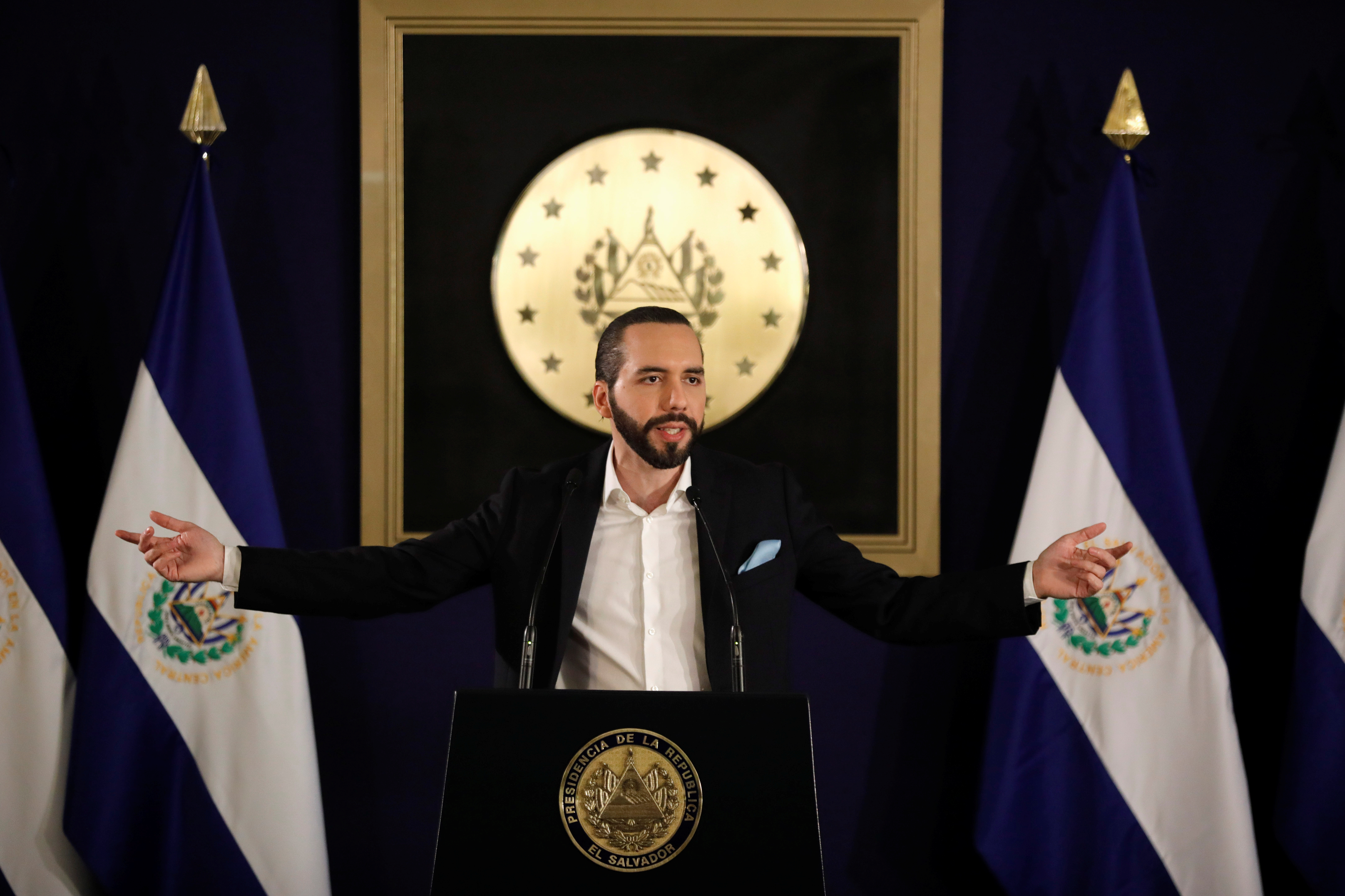 President of El Salvador Nayib Bukele speaks during a news conference about the homicide drop in the last month in San Salvador