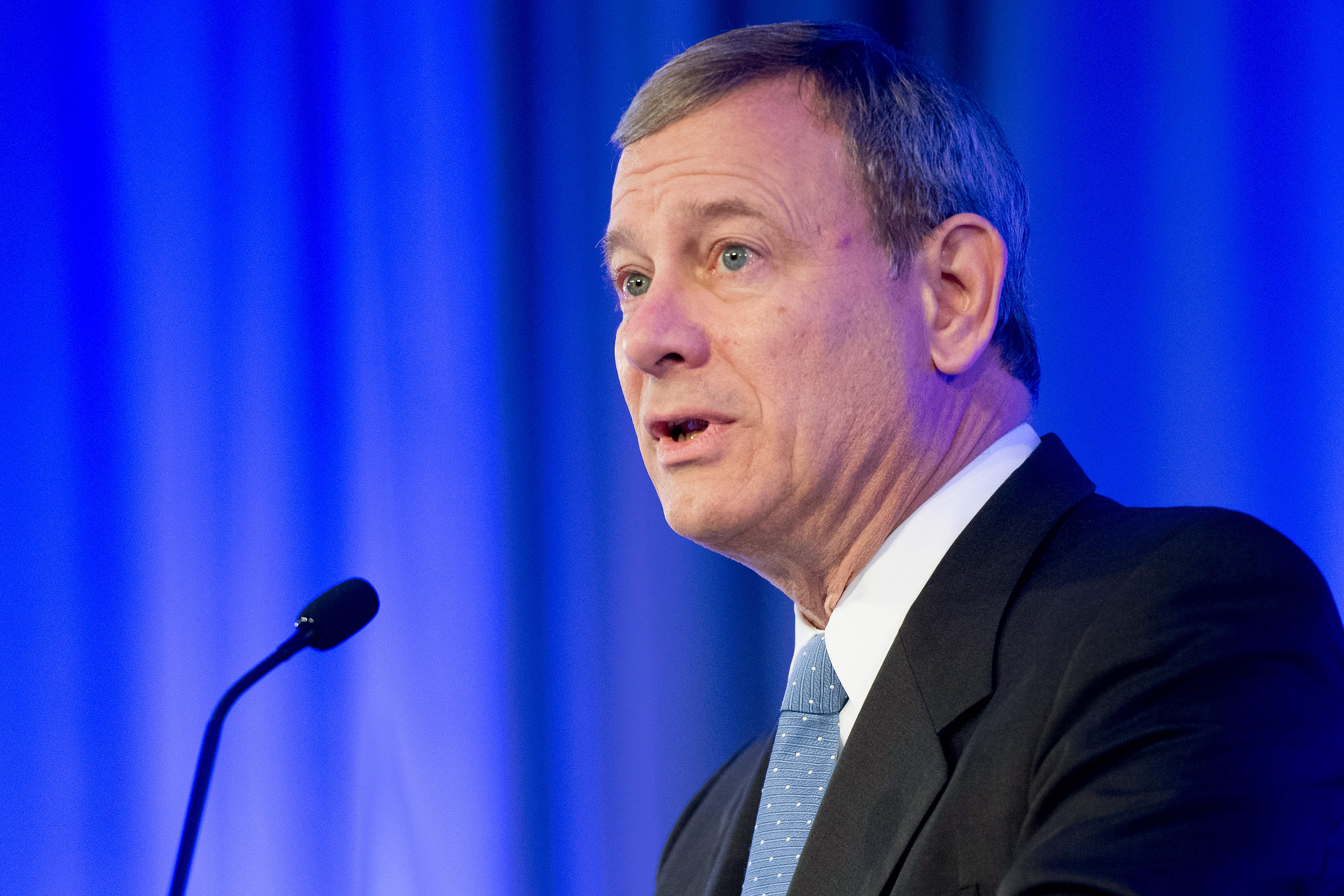 Chief Justice John Roberts speaks at an American Law Institute event honoring Justice Ruth Bader Ginsburg on May 14, 2018. (Jim Watson/AFP/Getty Images)