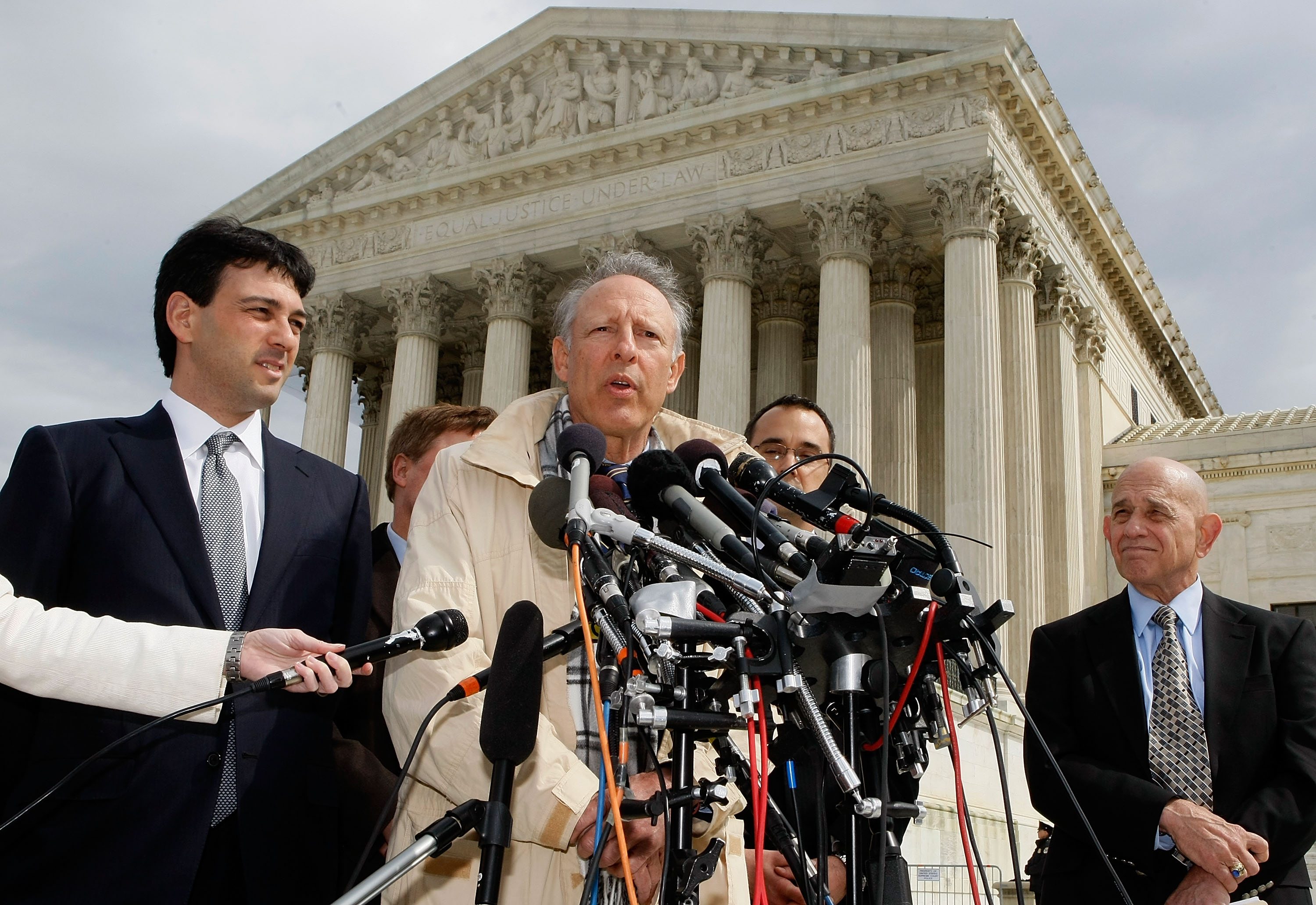 Plantiff Dick Heller speaks after oral arguments in D.C. v. Heller on March 18, 2008. (Mark Wilson/Getty Images)