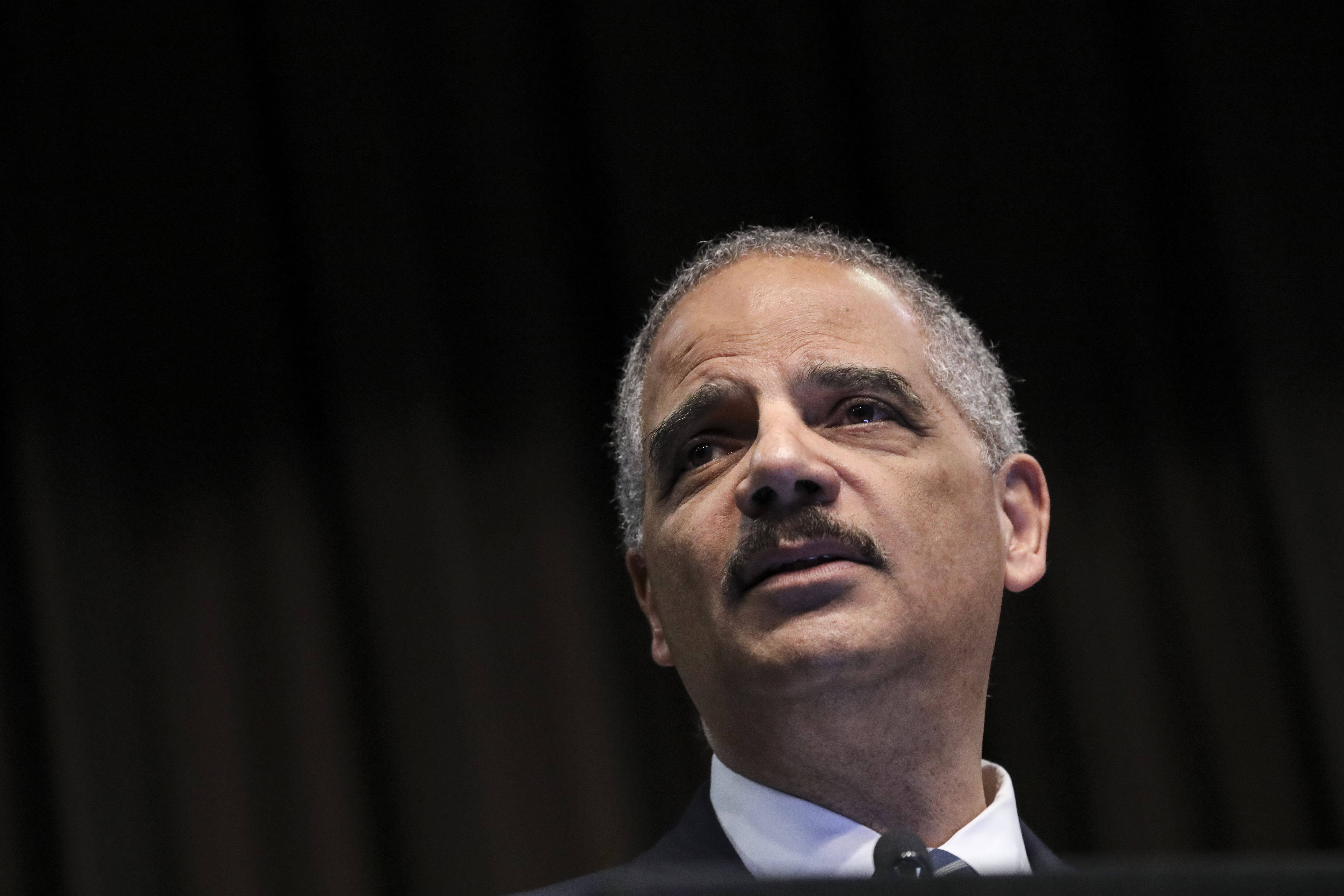 Former U.S. Attorney General Eric Holder speaks at the National Action Network's annual convention, April 3, 2019 in New York City. (Drew Angerer/Getty Images)