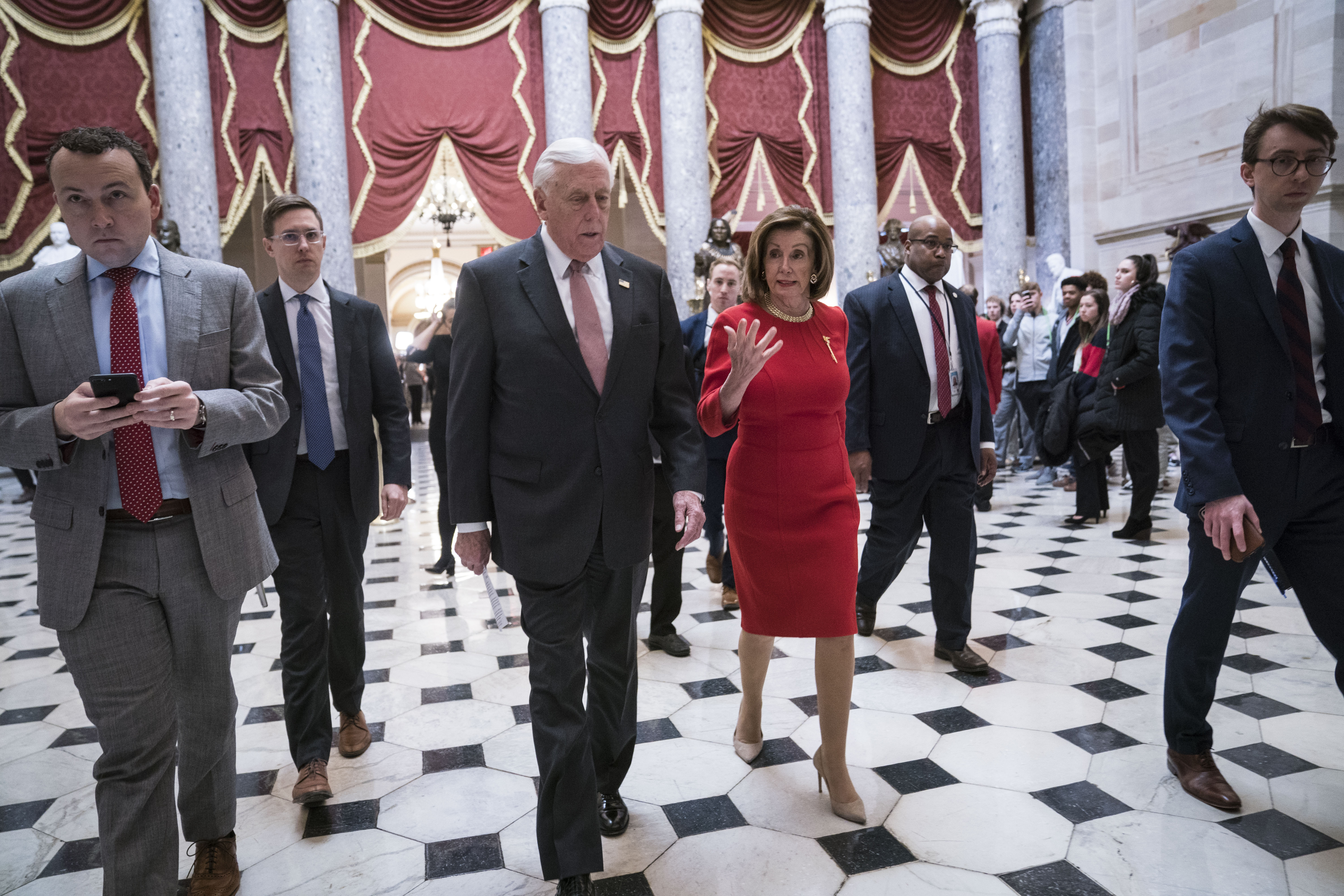 House Majority Leader Rep. Steny Hoyer (D-MD) and House Speaker Nancy Pelosi (D-CA) walk from the House floor where members debate the United States-Mexico-Canada Agreement (USMCA) to the speaker's office in the U.S. Capitol on December 19, 2019. (Sarah Silbiger/Getty Images)