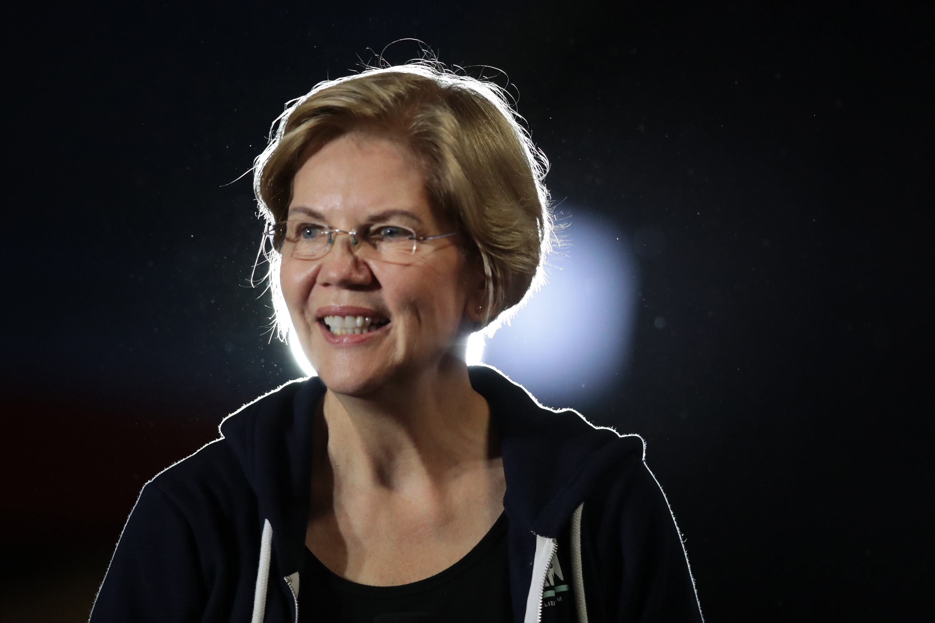 WEST DES MOINES, IOWA - NOVEMBER 25: Democratic presidential candidate Sen. Elizabeth Warren (D-MA) speaks to guests during a campaign stop at the Val Air Ballroom on November 25, 2019 in West Des Moines, Iowa. The 2020 Iowa Democratic caucuses will take place on February 3, 2020, making it the first nominating contest for the Democratic Party in choosing their presidential candidate. (Photo by Scott Olson/Getty Images)