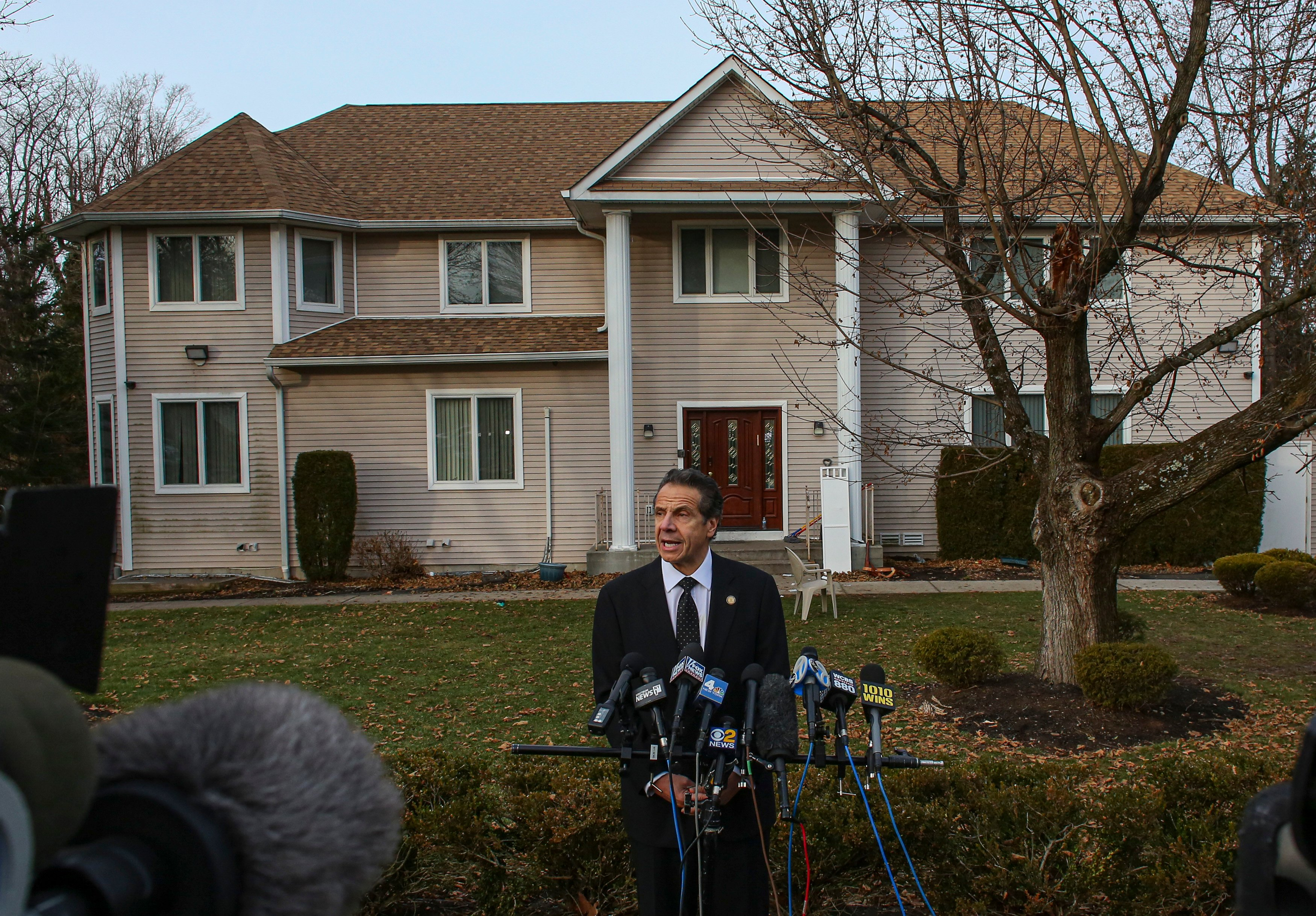New York Governor Andrew Cuomo speaks to the media outside the home of rabbi Chaim Rottenbergin Monsey, in New York on December 29, 2019 after a machete attack that took place earlier outside the rabbi's home during the Jewish festival of Hanukkah in Monsey, New York. - An intruder stabbed and wounded five people at a rabbi's house in New York during a gathering to celebrate the Jewish festival of Hanukkah late on December 28, 2019, officials and media reports said. Local police departments, speaking to AFP, declined to give the number of people injured, but a suspect has been taken into custody and a vehicle safeguarded, an NYPD spokesman said. (Photo by KENA BETANCUR/AFP via Getty Images)
