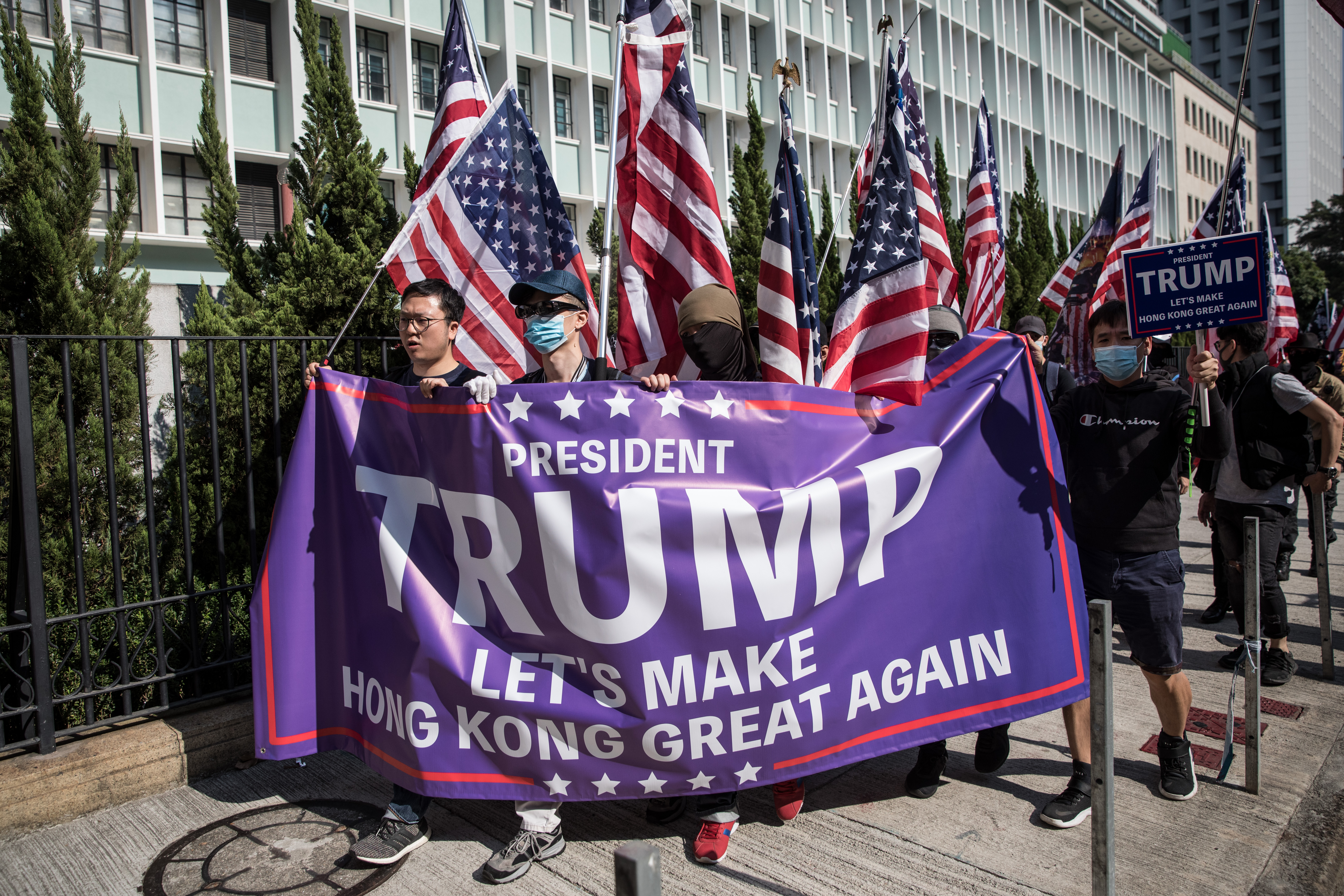 Pro-democracy protesters take part in a March of Gratitude rally to say thank you to the United States for their suppor t on December 01, 2019 in Hong Kong, China. (Chris McGrath/Getty Images)