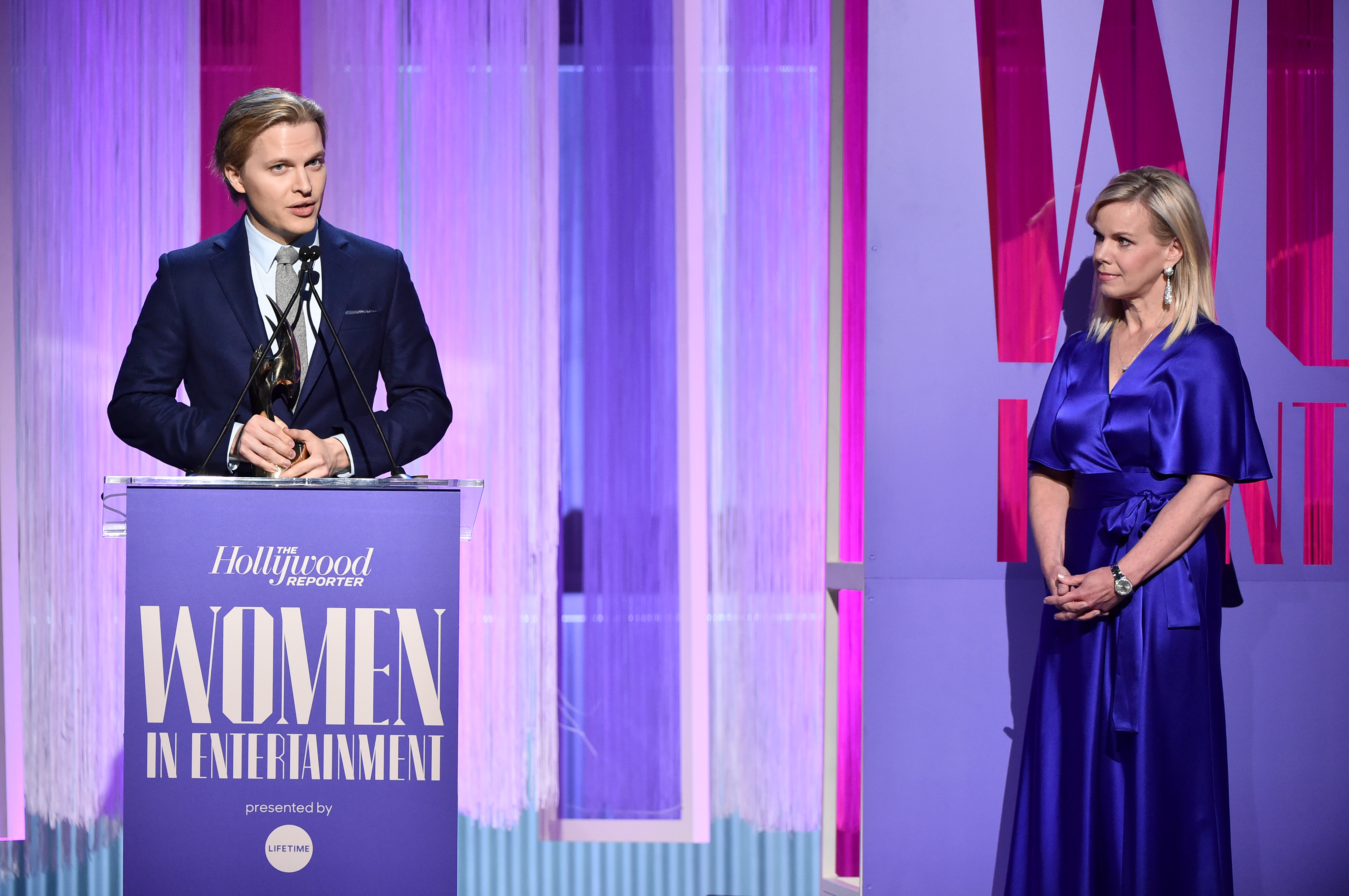 Honoree Ronan Farrow accepts the Equity in Entertainment Award from TV personality Gretchen Carlson onstage during The Hollywood Reporter's Power 100 Women in Entertainment at Milk Studios on December 11, 2019 in Hollywood, California. (Alberto E. Rodriguez/Getty Images for The Hollywood Reporter)