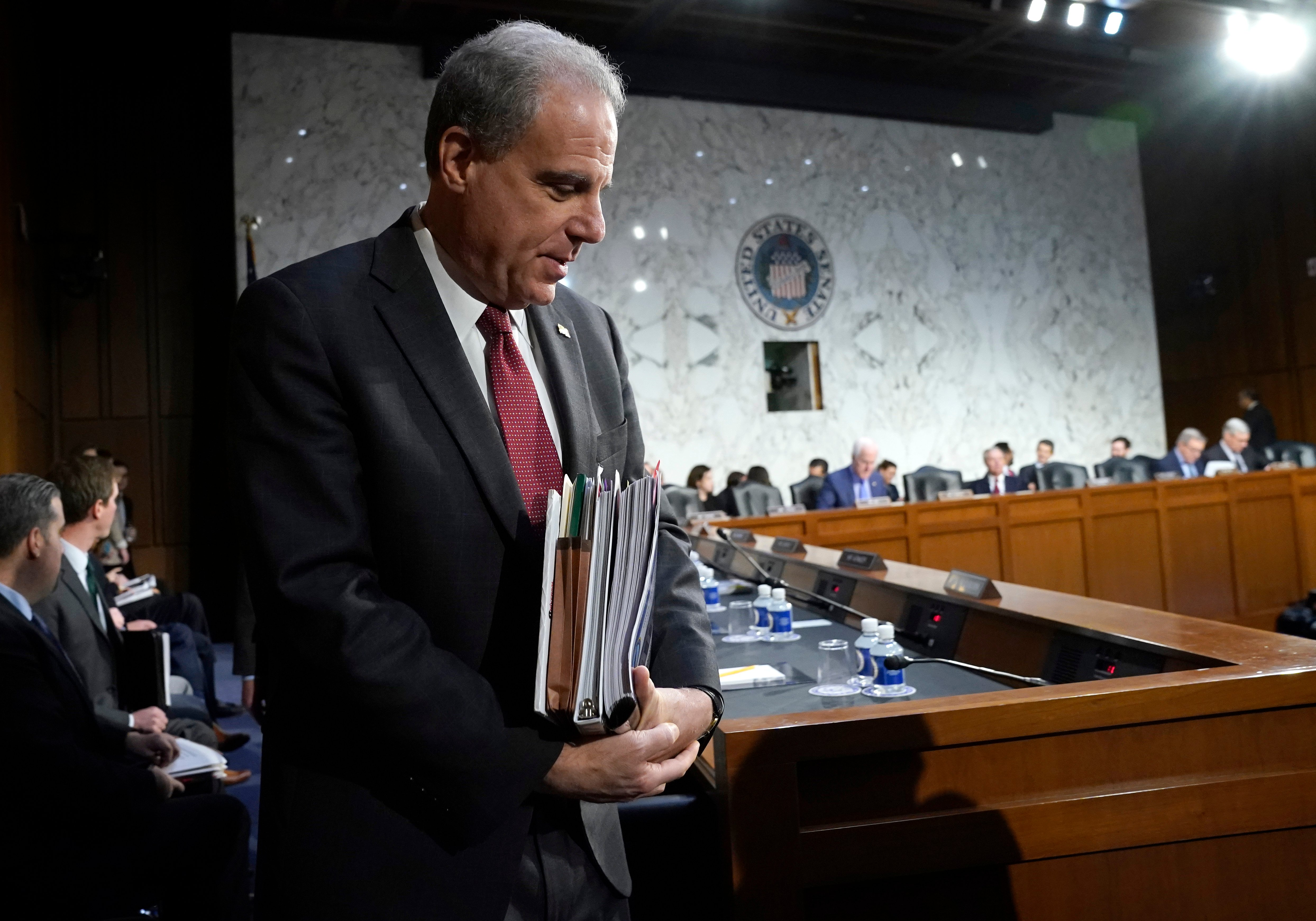 Michael Horowitz, inspector general for the Justice Department, returns for testimony following a short break before the Senate Judiciary Committee in the Hart Senate Office Building on December 11, 2019 in Washington, DC. (Photo by Win McNamee/Getty Images)