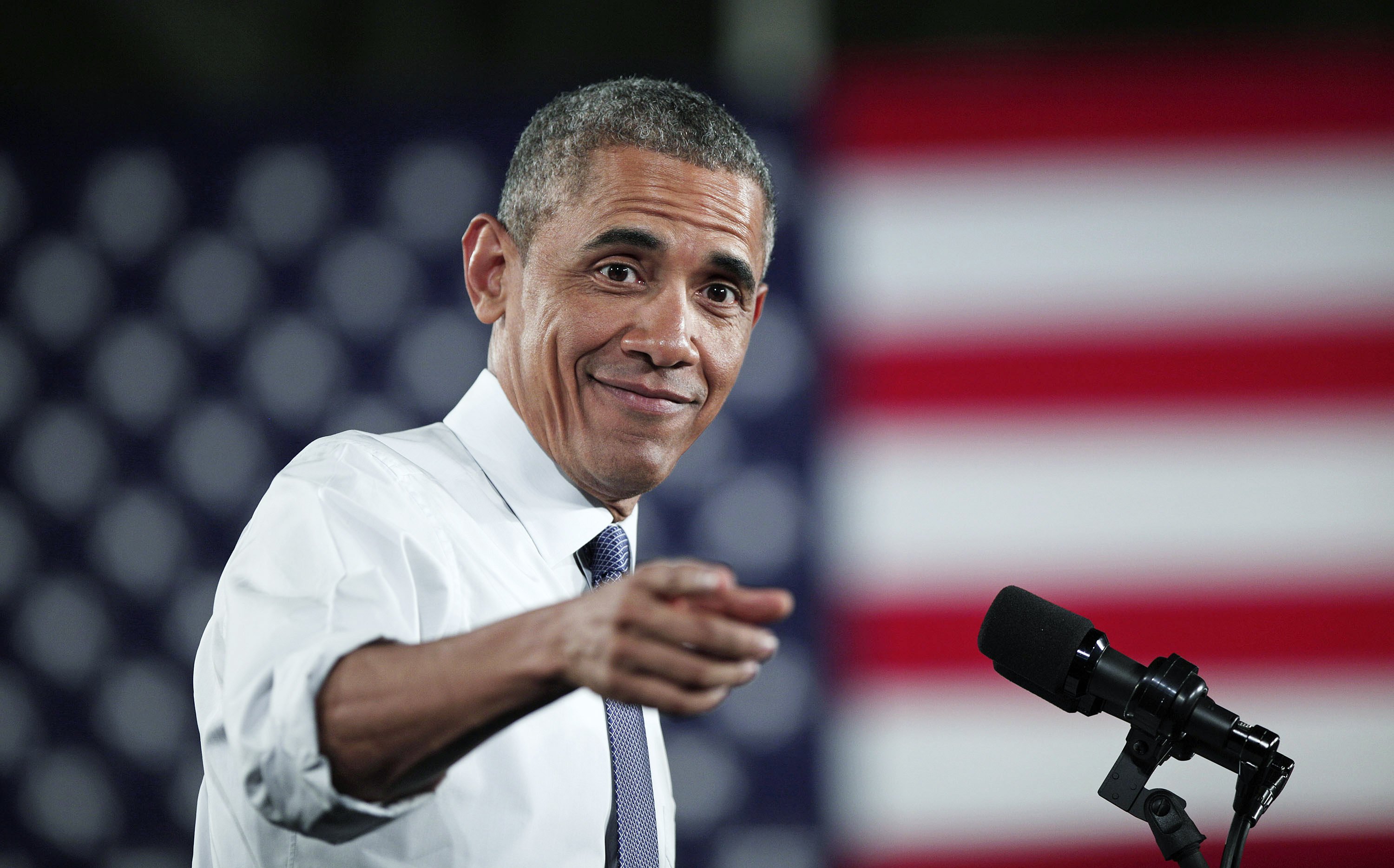 WAYNE, MI - JANUARY 7: U.S. President Barack Obama speaks at the Ford Michigan Assembly Plant January 7, 2015 in Wayne, Michigan. Obama spoke about the American automotive and manufacturing sector during his visit to the Detroit area, the first stop of a scheduled three-day, three city tour inthe lead up to the State of the Union. (Photo by Bill Pugliano/Getty Images)