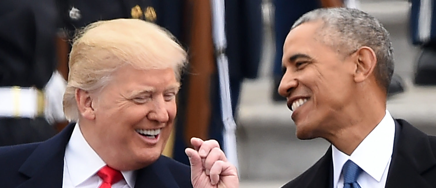 US President Donald Trump and former President Barack Obama talk on the East steps of the US Capitol after inauguration ceremonies on January 20, 2017, in Washington, DC. (ROBYN BECK/AFP via Getty Images)
