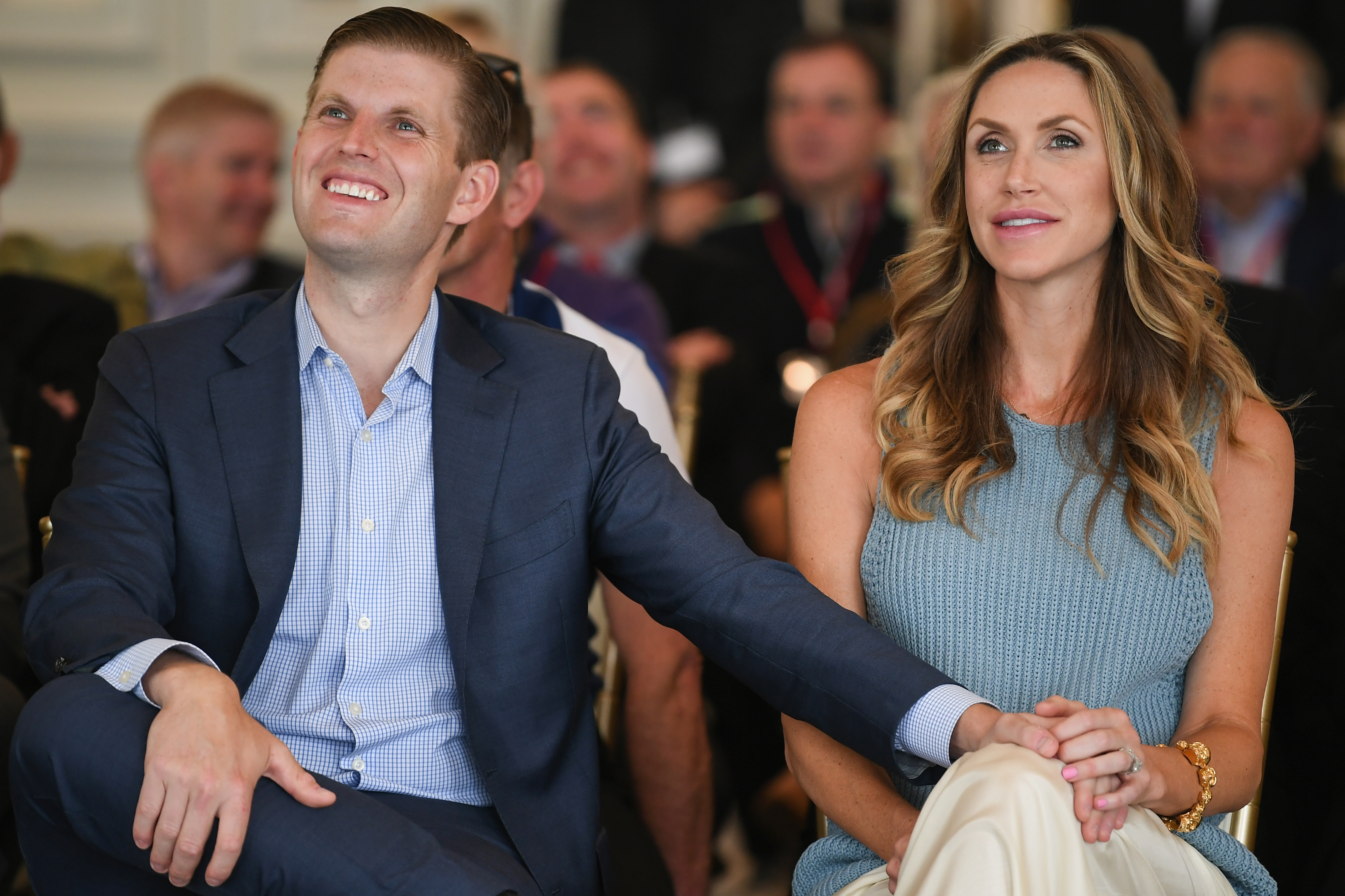 TURNBERRY, SCOTLAND - JUNE 28: Eric Trump and his wife Lara attend the opening Trump Turnberry's new golf course the King Robert The Bruce course on June 28, 2017 in Turnberry, Scotland. Formerly the Kintyre Course, it has been redesigned and upgraded and forms the second course to the acclaimed championship Ailsa course. (Photo by Jeff J Mitchell/Getty Images)