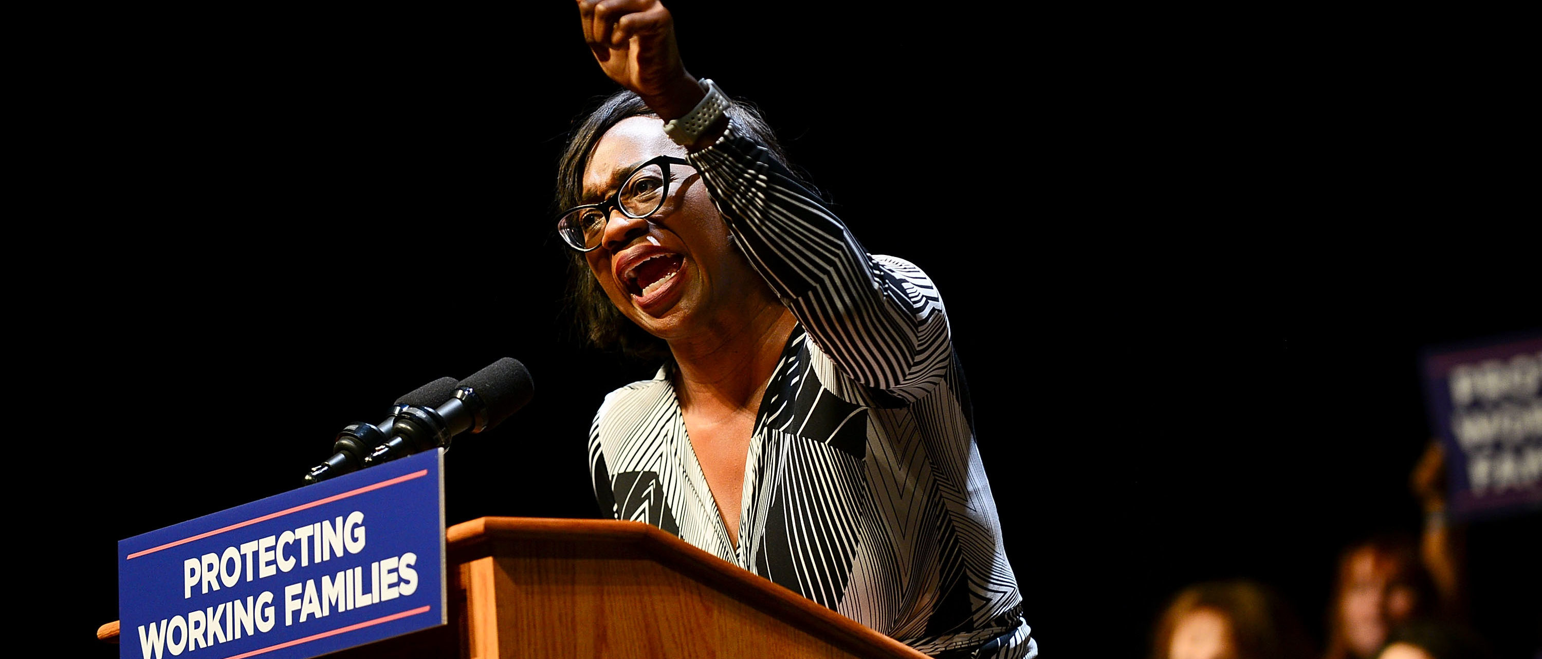 READING, PA - DECEMBER 03: Nina Turner, President of Our Revolution and former Ohio State Senator speaks on stage during the Protecting Working Families Rally to stand up against the horrific GOP tax proposal, hosted by Not One Penny, and MoveOn.org at Santander Performing Arts Center on December 3, 2017 in Reading, Pennsylvania. (Photo by Lisa Lake/Getty Images for MoveOn.org)