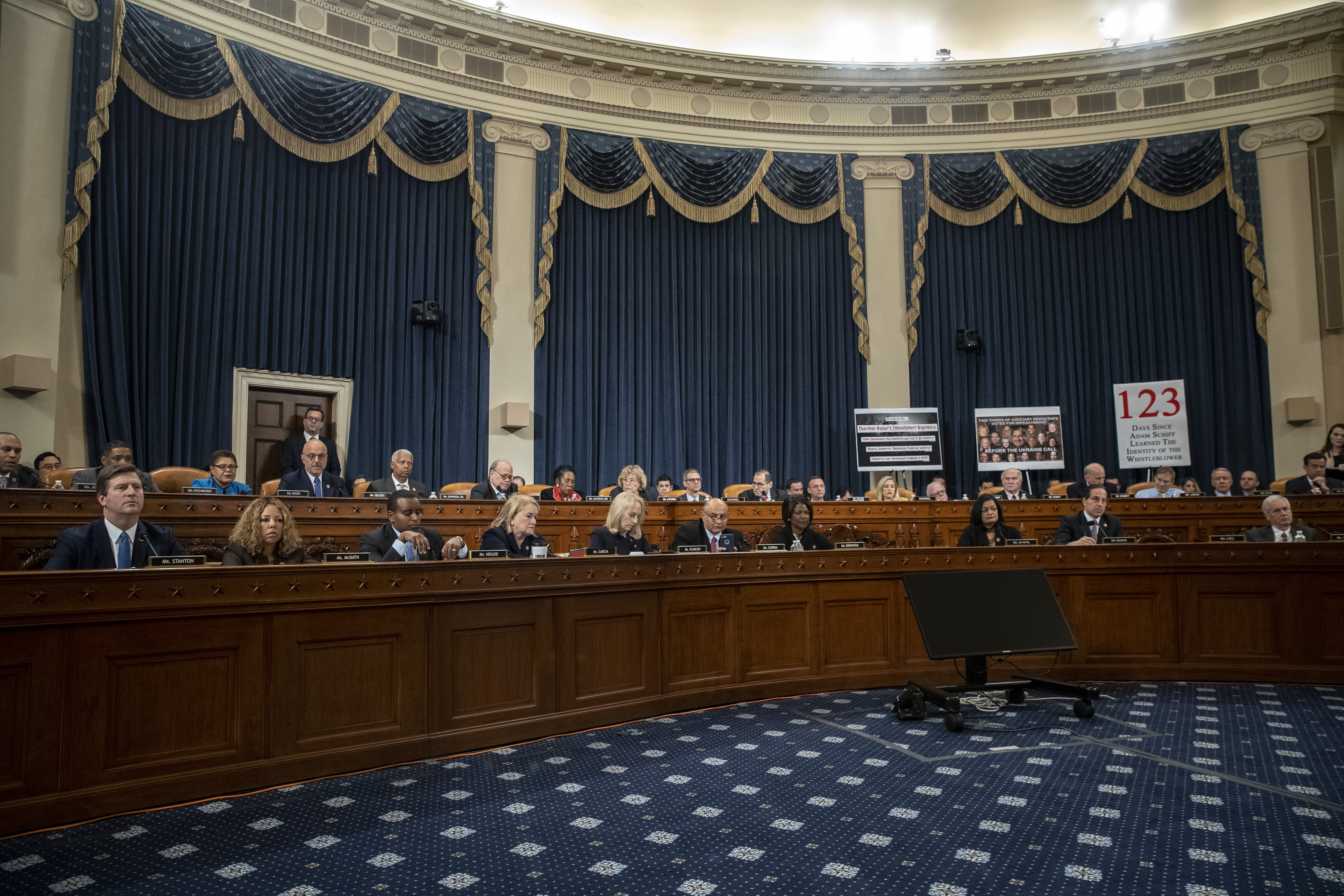 The House Judiciary Committee votes on the two articles of impeachment against President Donald Trump on December 13, 2019. (Drew Angerer/Getty Images)