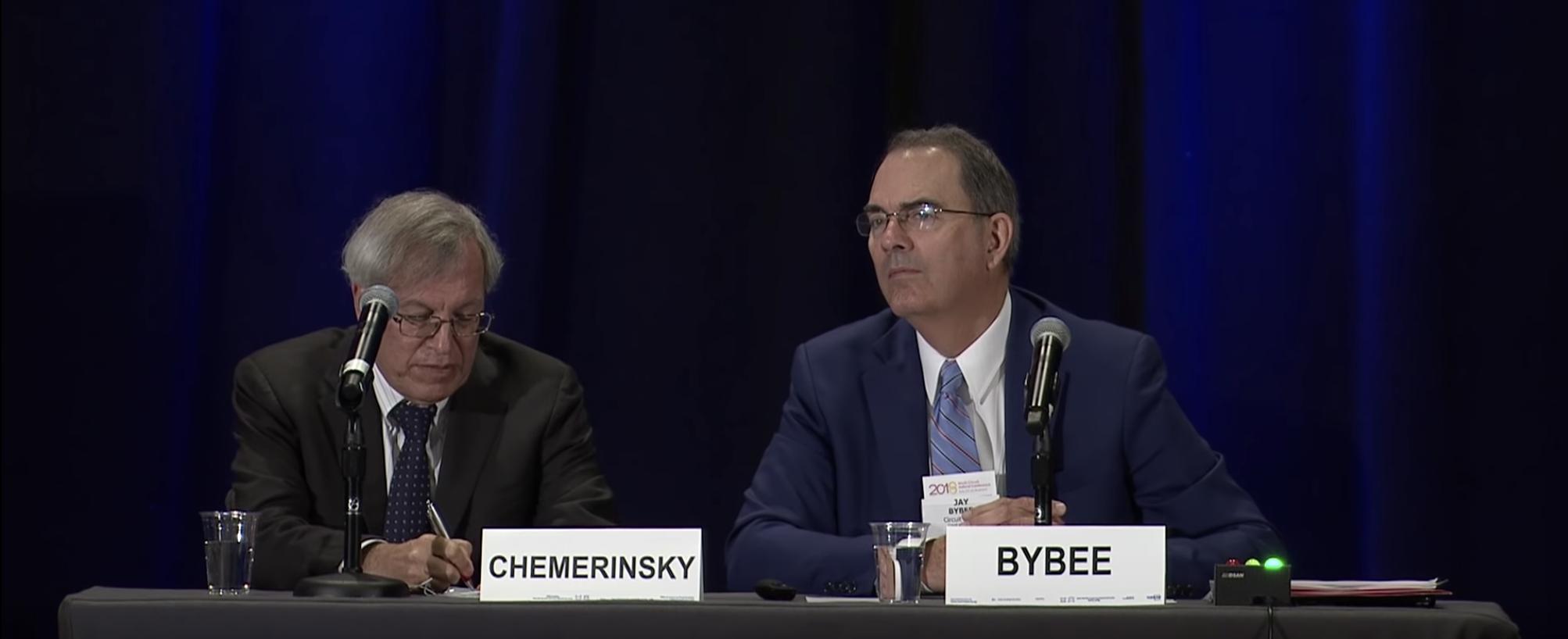 Judge Jay Bybee speaks on a panel with Berkeley Dean Erwin Chemerinsky in October 2018. (YouTube screenshot)