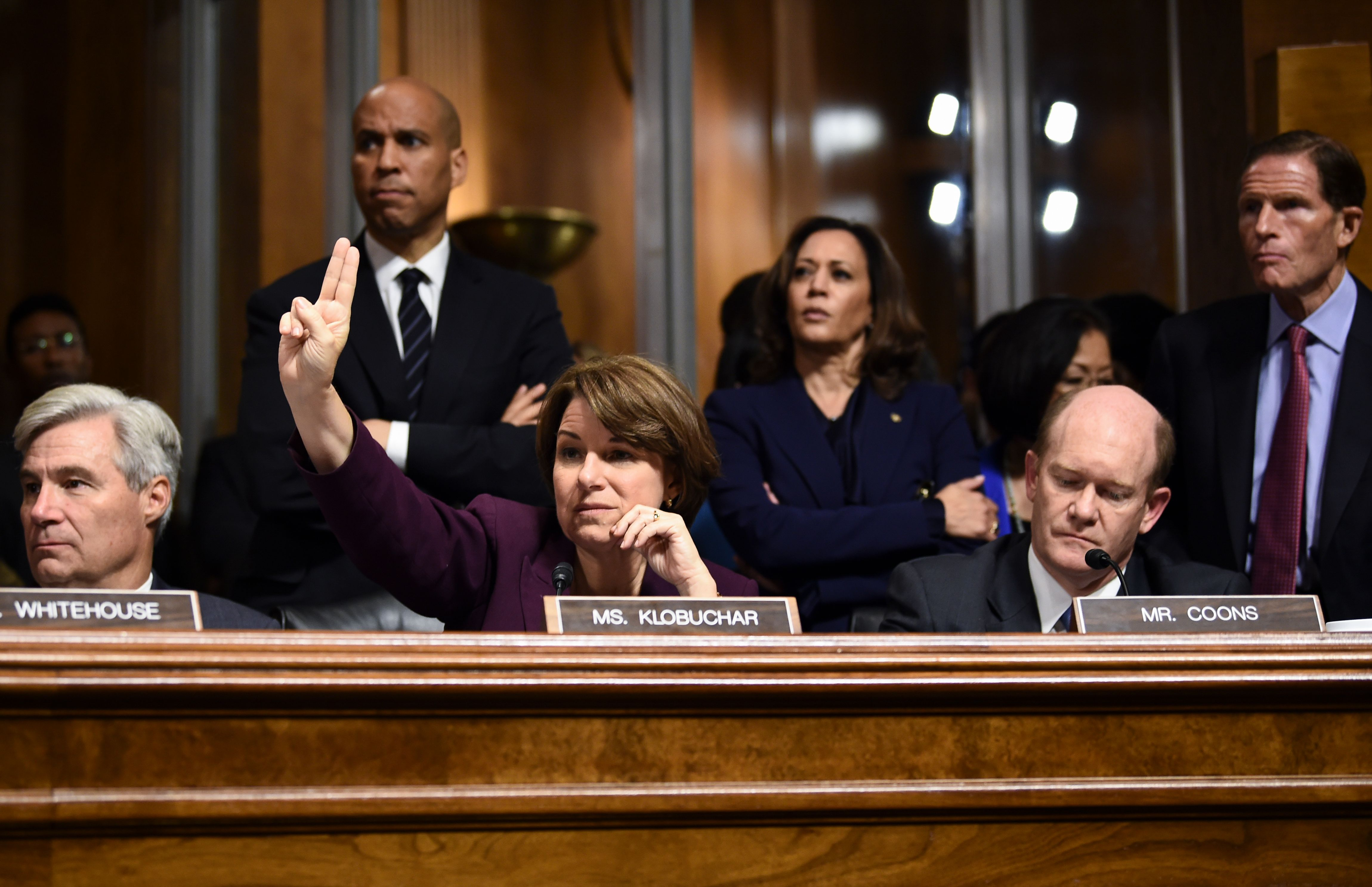 Sen. Amy Klobuchar during a hearing on Justice Brett Kavanaugh's nomination on September 28, 2018. (Brendan Smialowski/AFP/Getty Images)