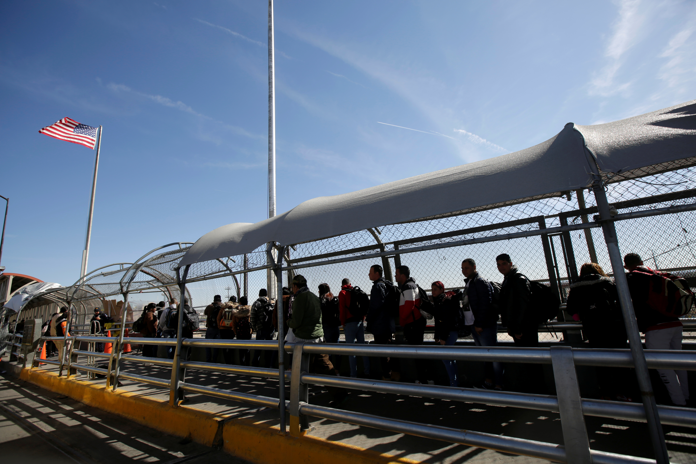 Cuban migrants queue to enter El Paso, Texas to request asylum in U.S. in Ciudad Juarez