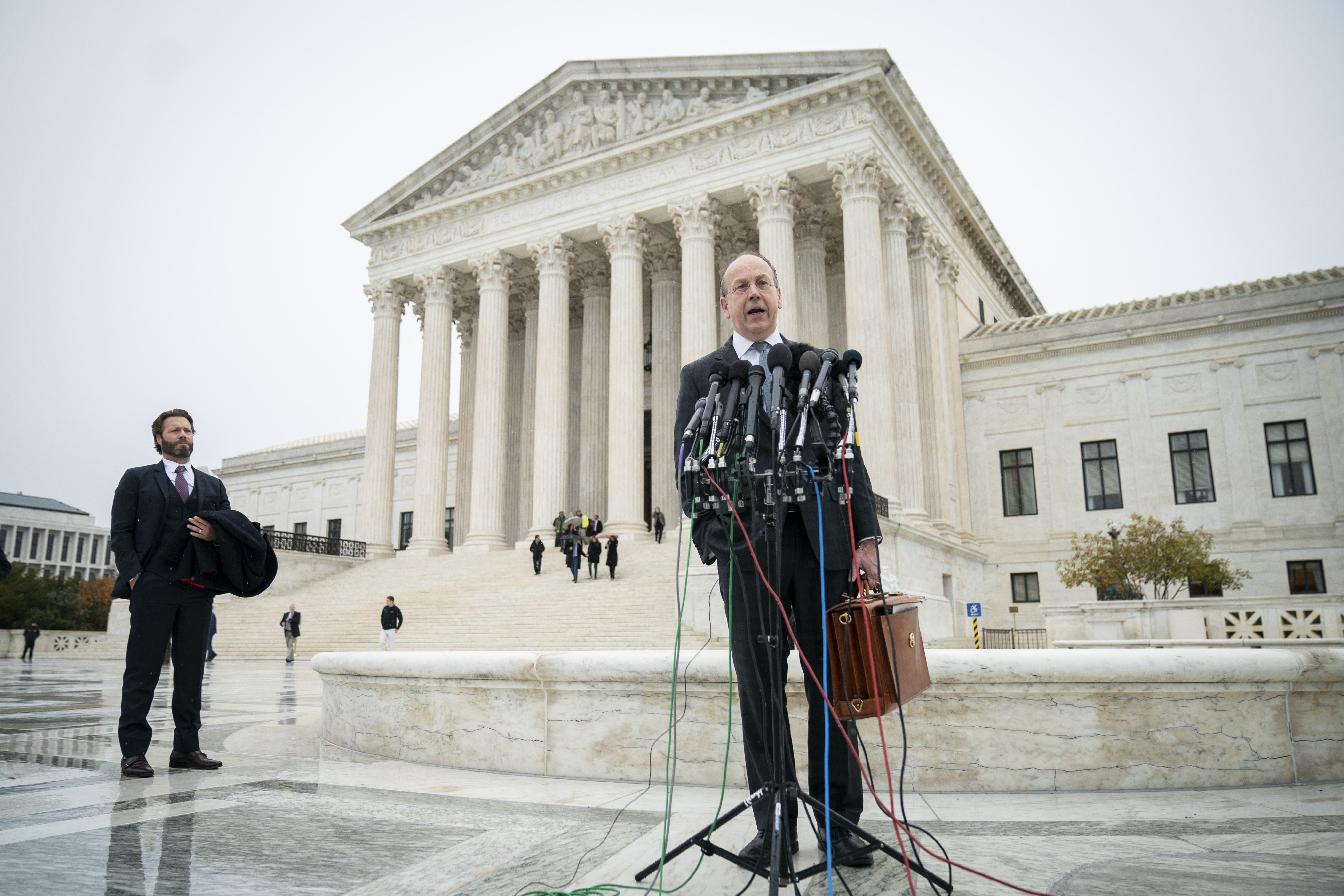 Paul Clement, a lawyer and former U.S. Solicitor General, speaks to the press outside the Supreme Court on December 2, 2019. (Drew Angerer/Getty Images)