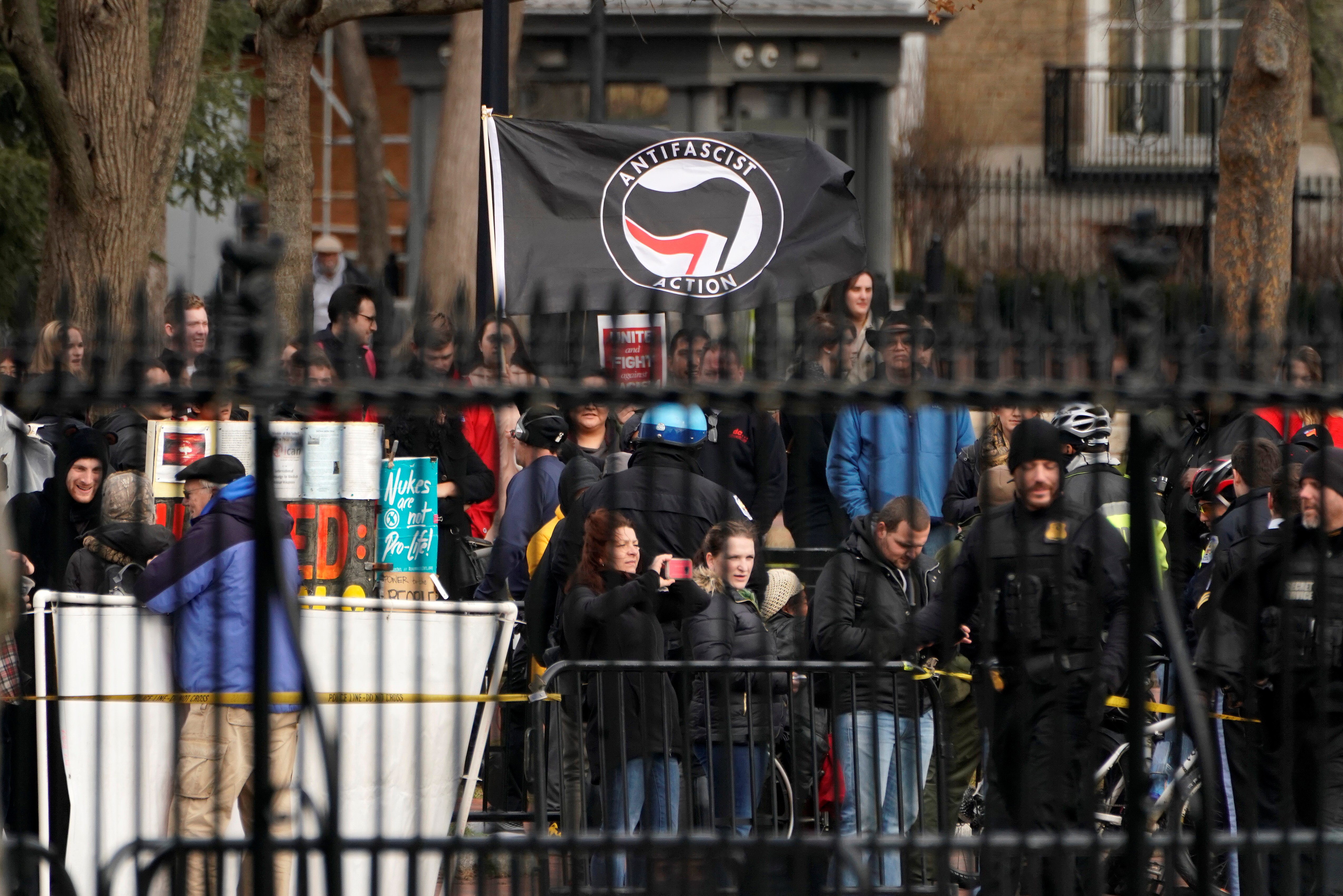 The group Antifacist Action holds a rally outside of the White House in Washington, U.S., January 5, 2019. REUTERS/Joshua Roberts - RC137C4AA390
