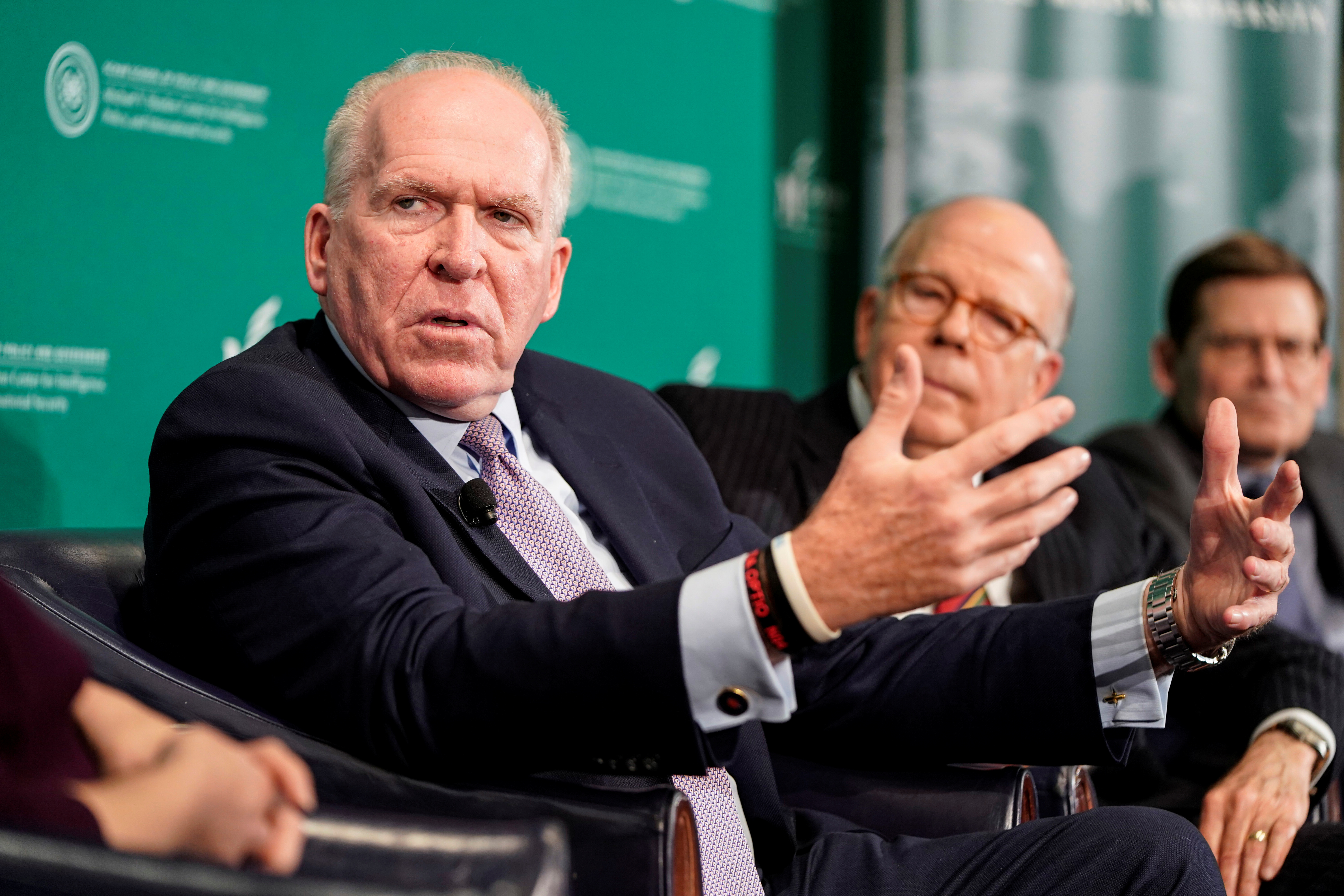 "Former CIA director John Brennan speaks during a forum on election security titled, ""2020 Vision: Intelligence and the U.S. Presidential Election"" at the National Press Club in Washington, U.S., October 30, 2019. REUTERS/Joshua Roberts"